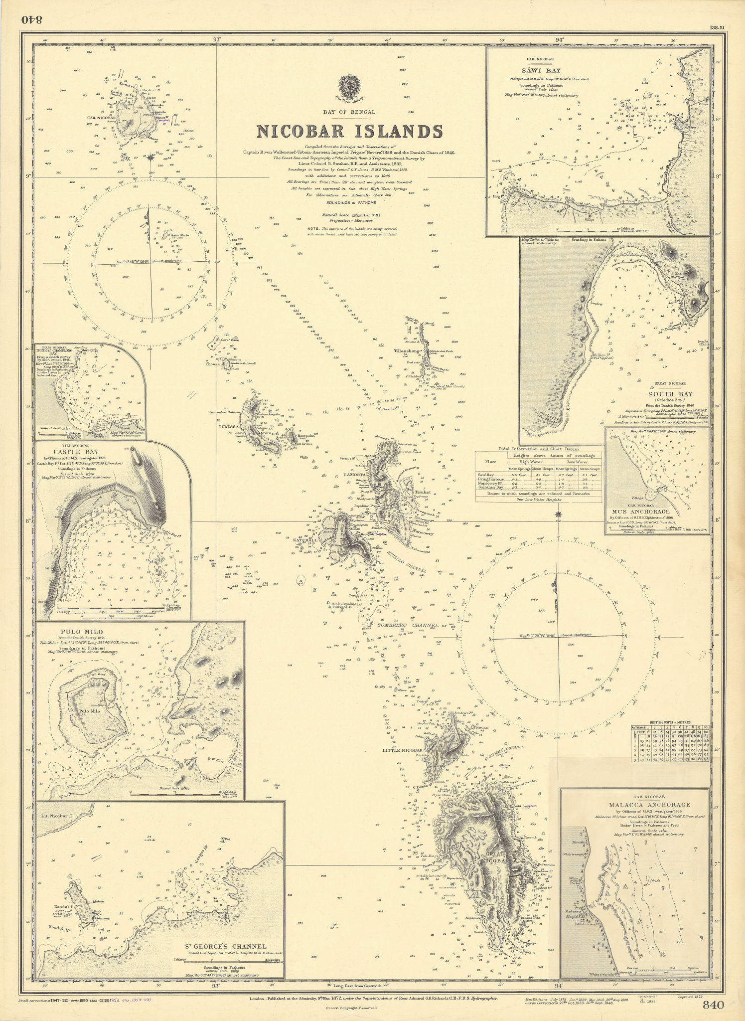 Nicobar Islands harbours India Bay of Bengal ADMIRALTY sea chart 1872 (1954) map