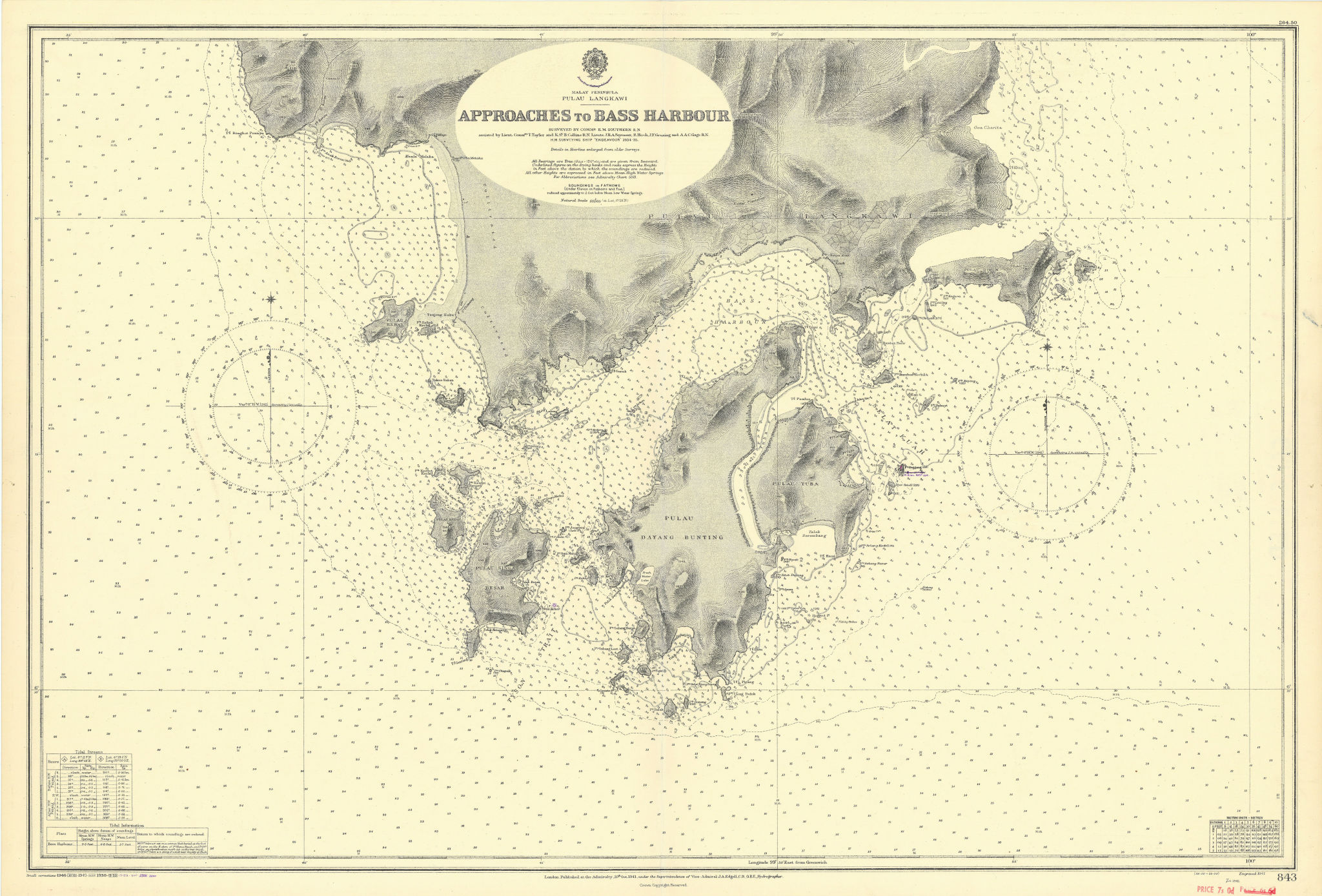 Pulau Langkawi Bass Harbour approaches Malaysia ADMIRALTY chart 1941 (1956) map