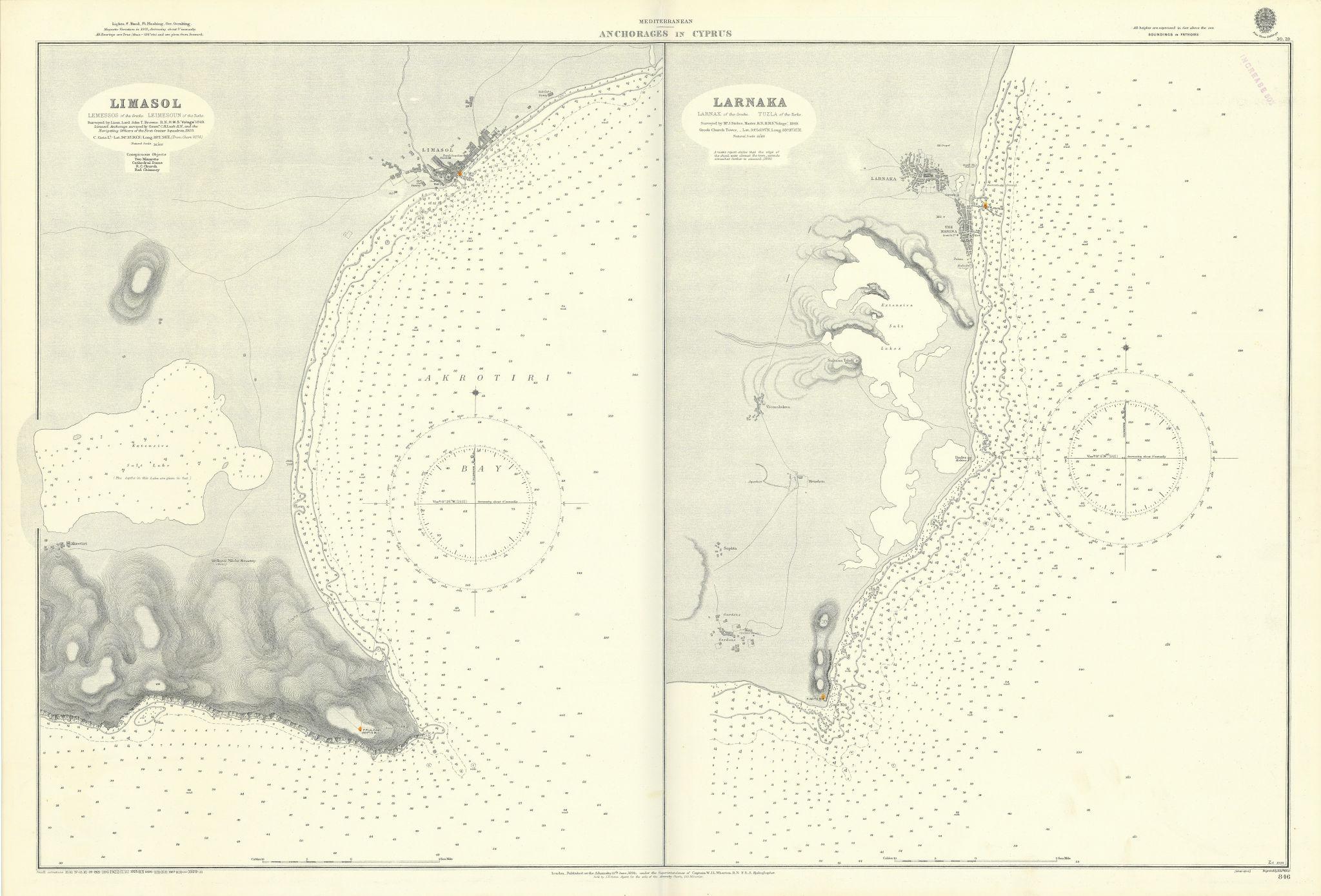 Cyprus anchorages Limassol Larnaca Akrotiri ADMIRALTY sea chart 1891 (1929) map