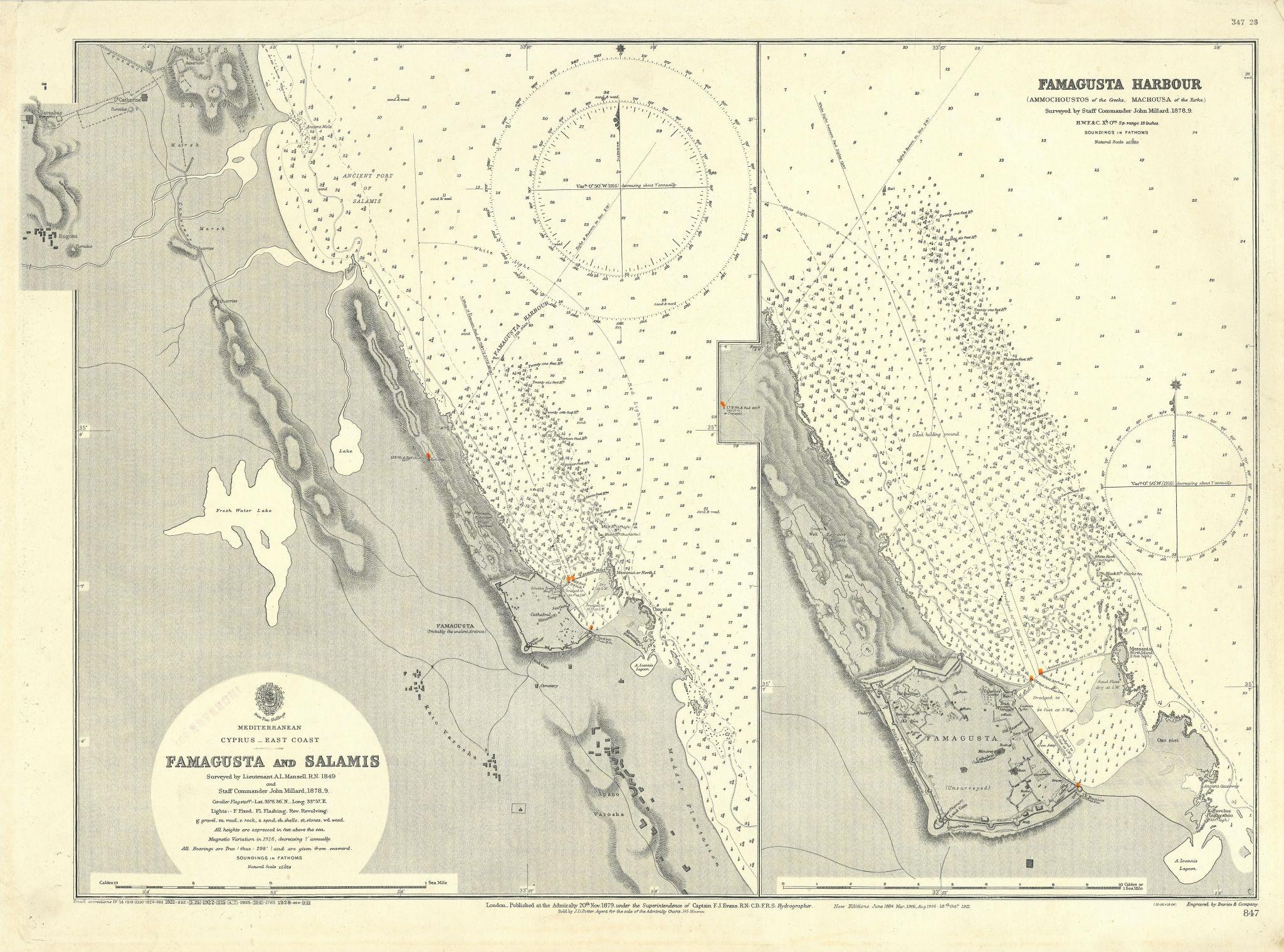 Famagusta harbour Salamis Cyprus Gazimagusa ADMIRALTY sea chart 1879 (1928) map