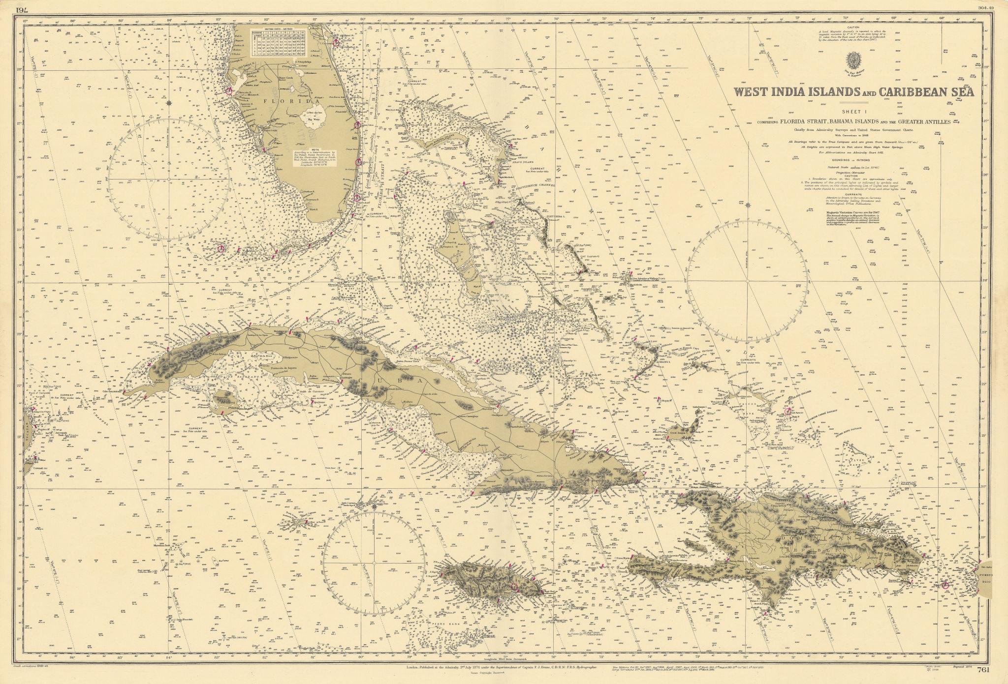 West Indies Caribbean Florida Bahamas Cuba ADMIRALTY chart 1876 (1949) old map