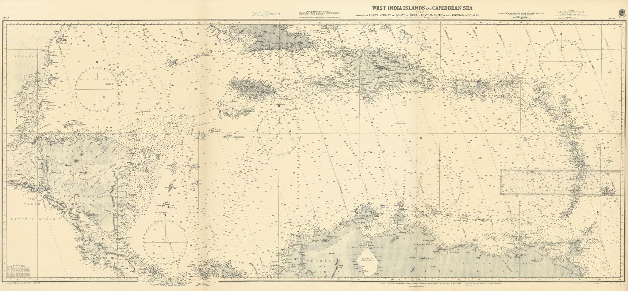 West India Islands & Caribbean Sea Sheet 2 ADMIRALTY sea chart 1913 (1949) map