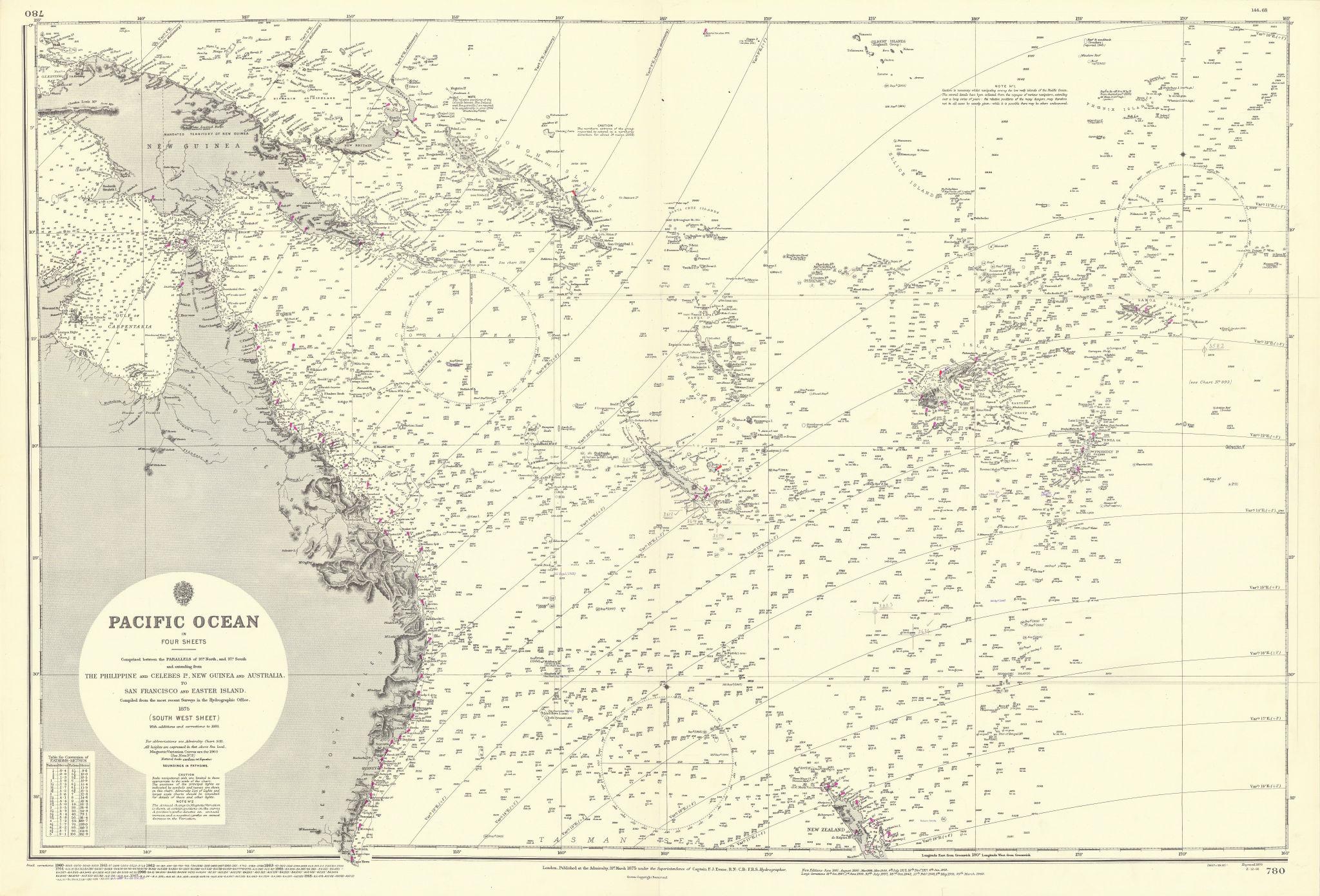 South west Pacific Ocean Melanesia Polynesia ADMIRALTY sea chart 1875 (1968) map