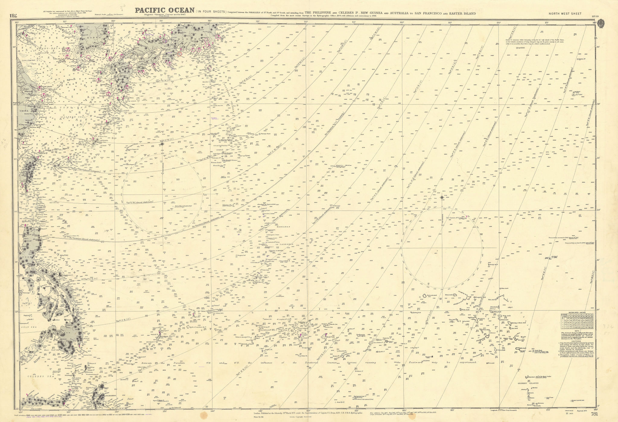 Pacific Ocean North west sheet. Micronesia. ADMIRALTY sea chart 1875 (1954) map