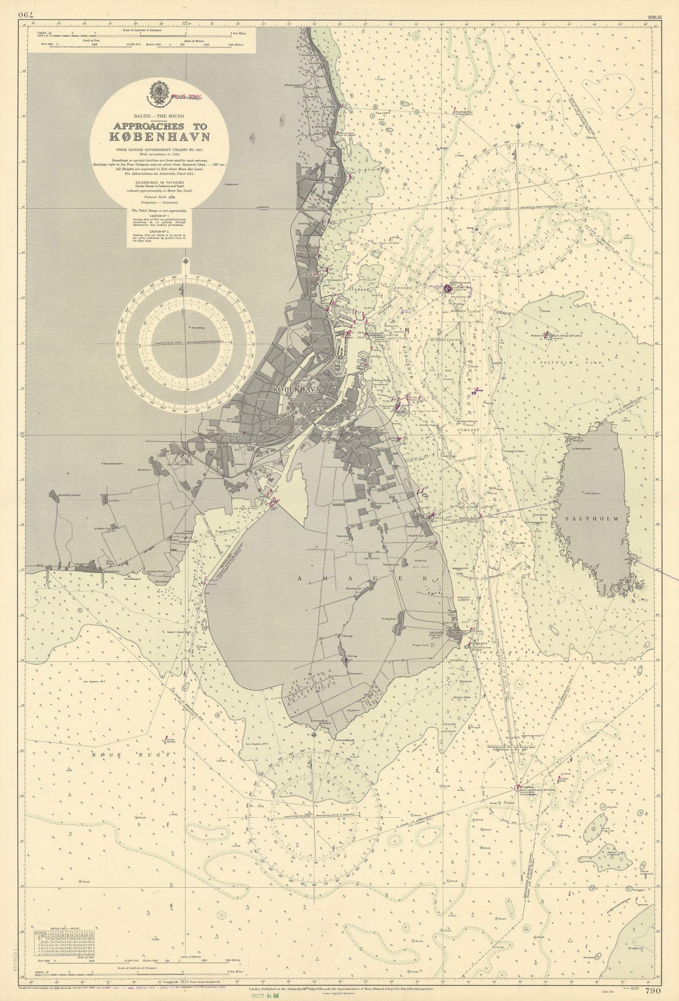 Copenhagen København approaches. Denmark. ADMIRALTY sea chart 1951 (1956) map