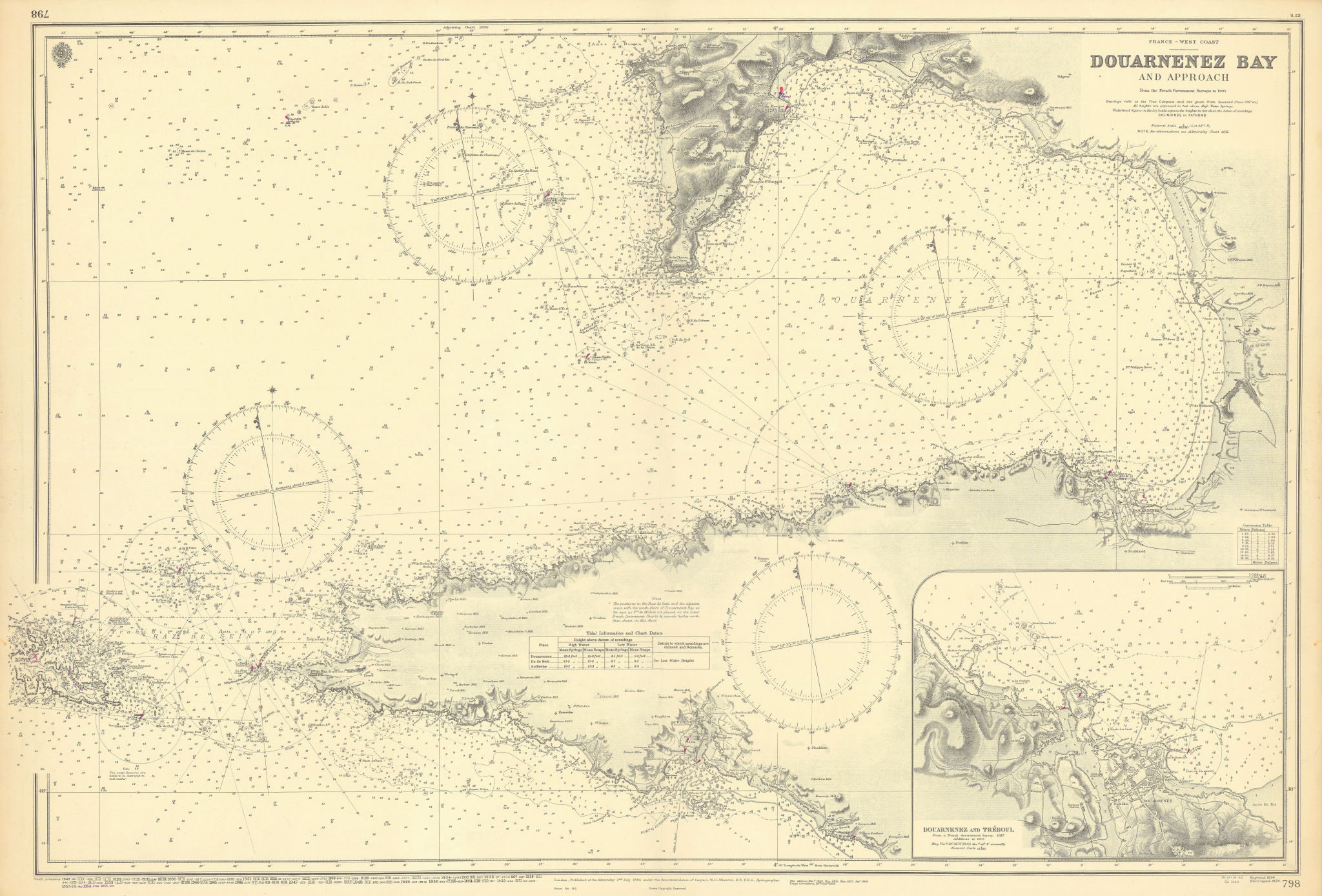 Douarnenez Bay & approaches. Finistère. ADMIRALTY sea chart 1894 (1955) map