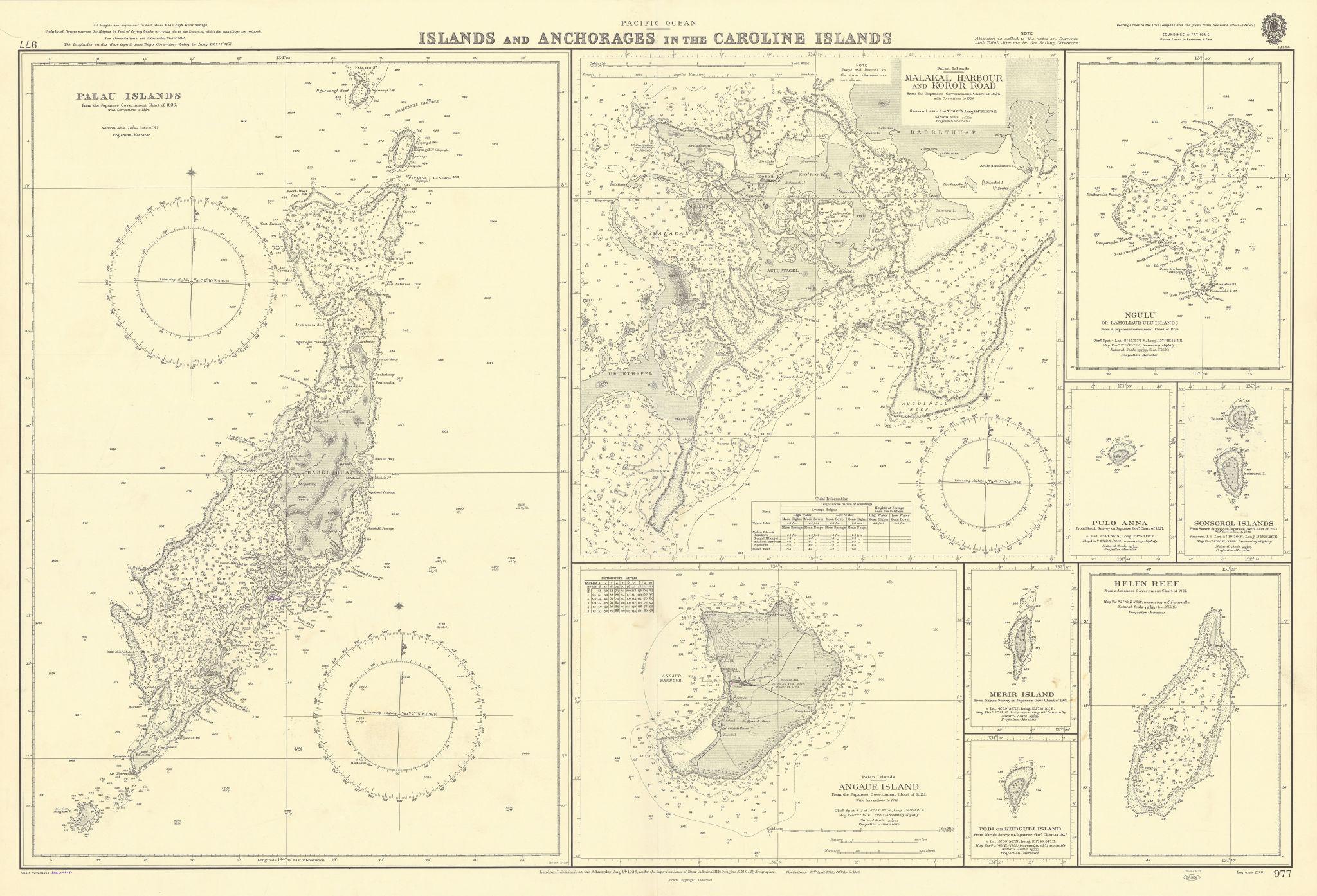 Caroline Islands Palau Malakal Ngulu Angaur. ADMIRALTY sea chart 1928 (1956) map