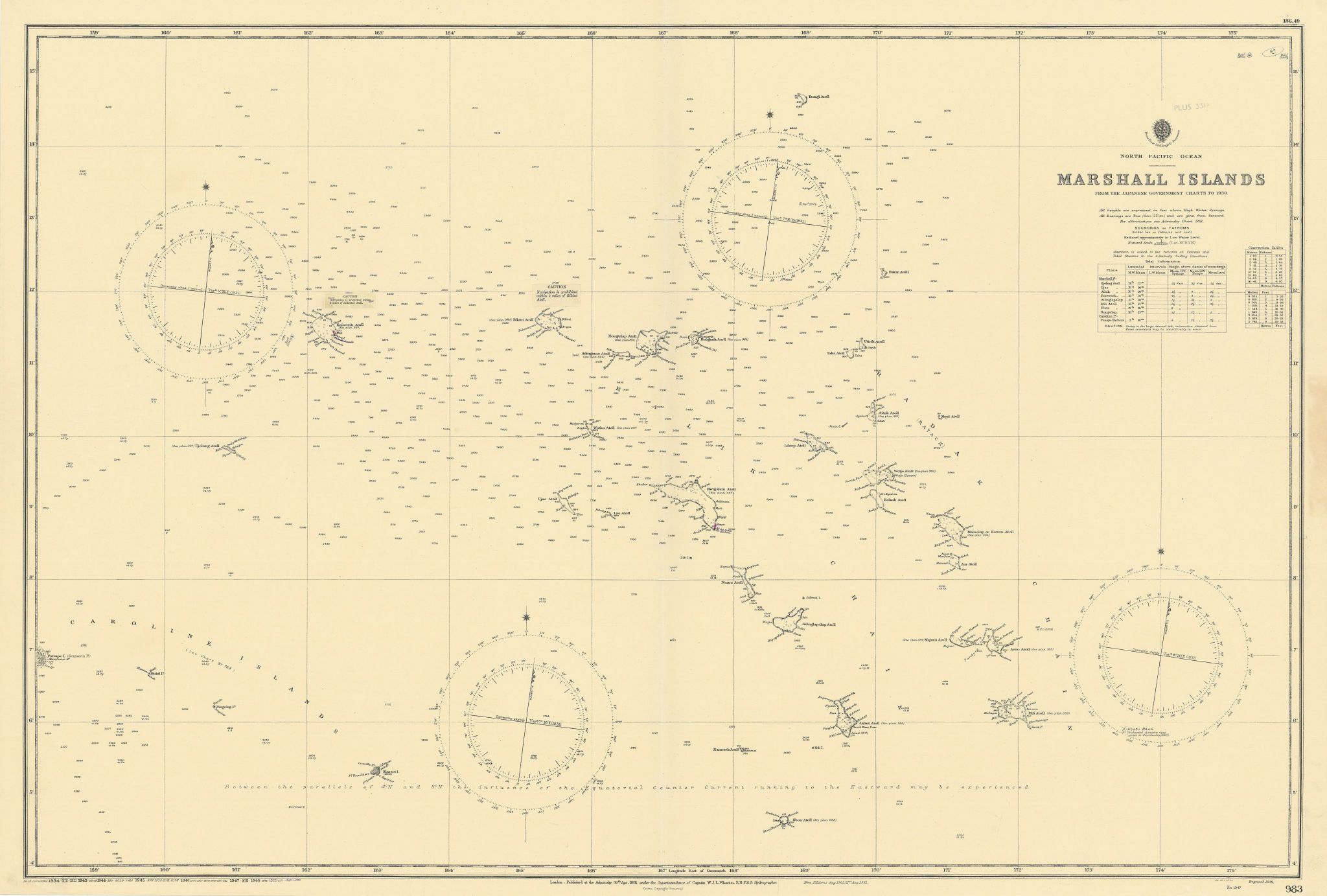 Marshall Islands North Pacific Ocean Micronesia ADMIRALTY chart 1891 (1953) map