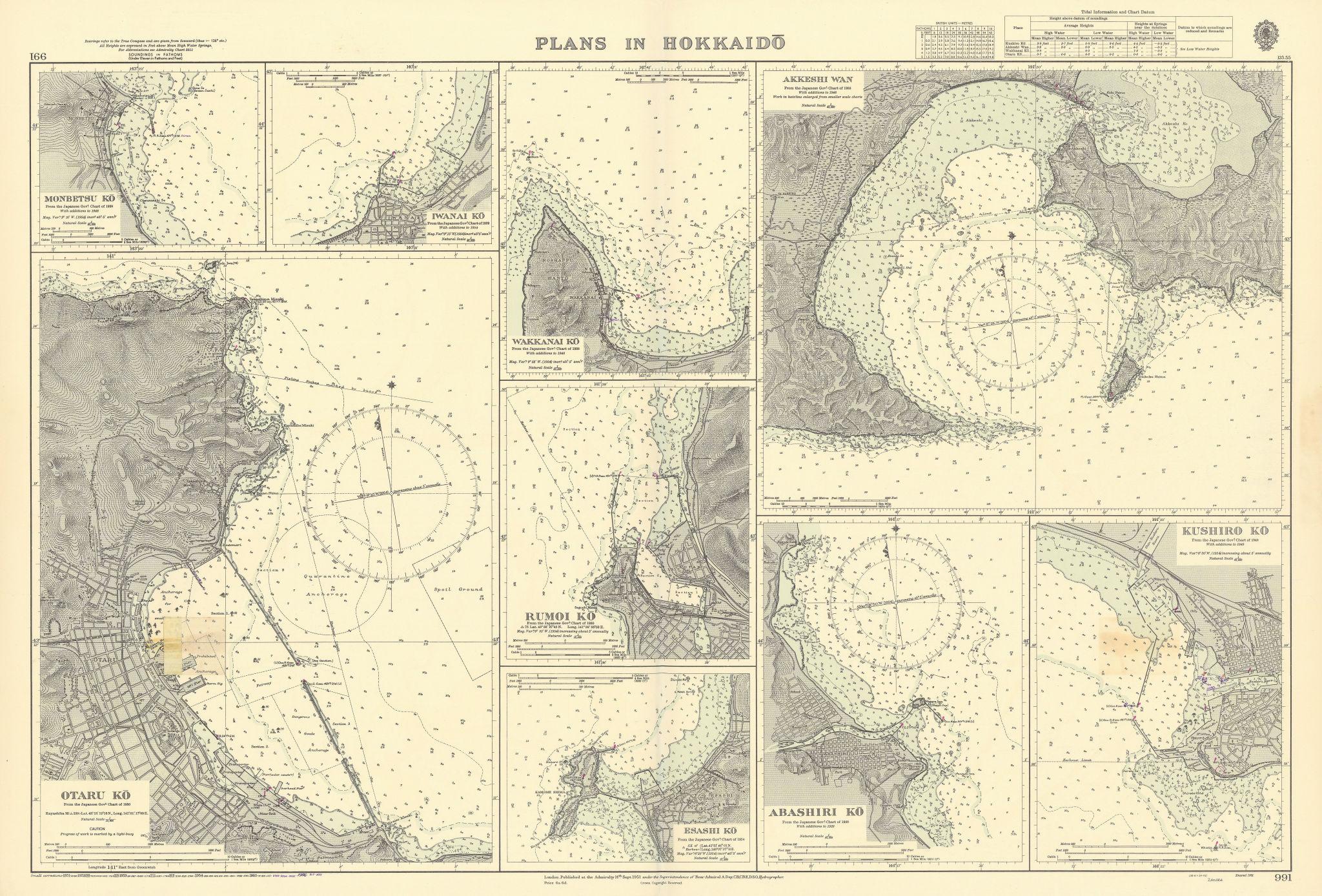 Hokkaido harbours Otaru Ko Akkeshi Wan Japan ADMIRALTY sea chart 1951 (1956) map