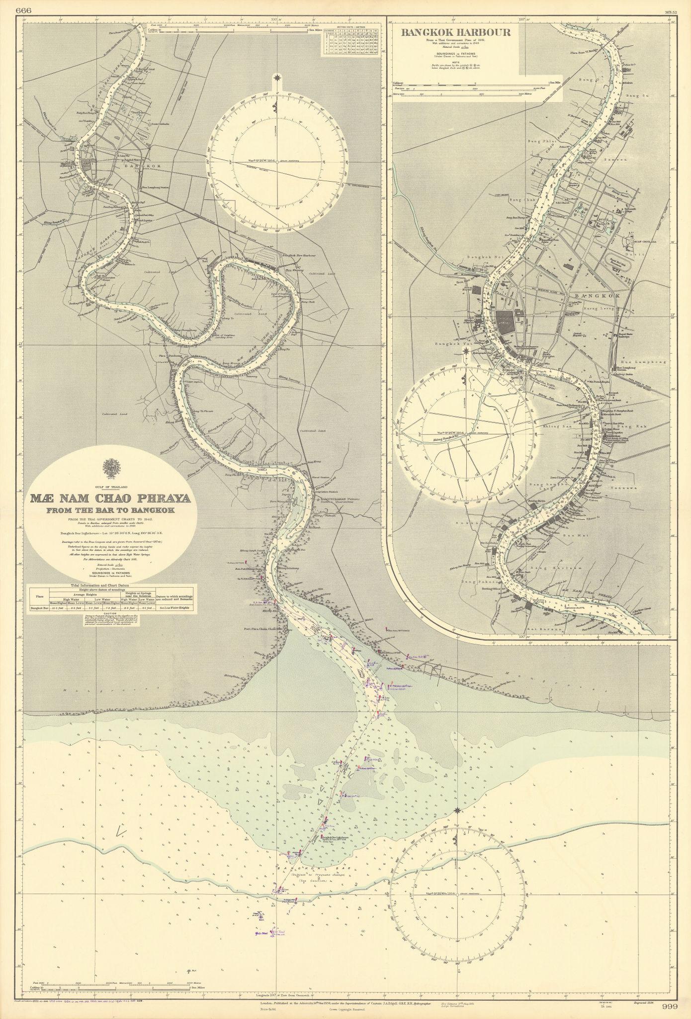 Bangkok Harbour Chao Phraya river Thailand. ADMIRALTY sea chart 1934 (1956) map