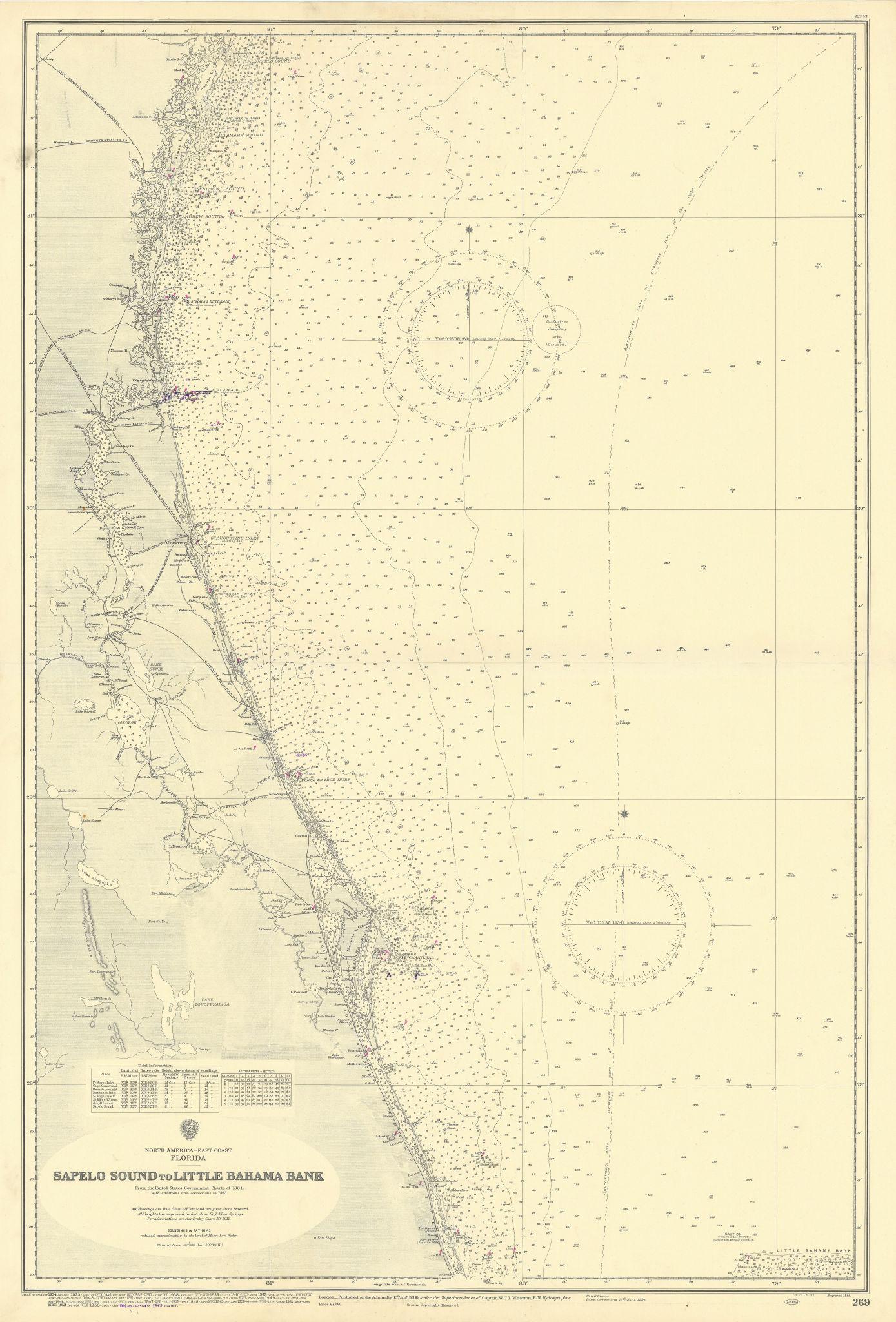 Florida Georgia coast Sapelo Island-St Lucie ADMIRALTY sea chart 1886 (1955) map