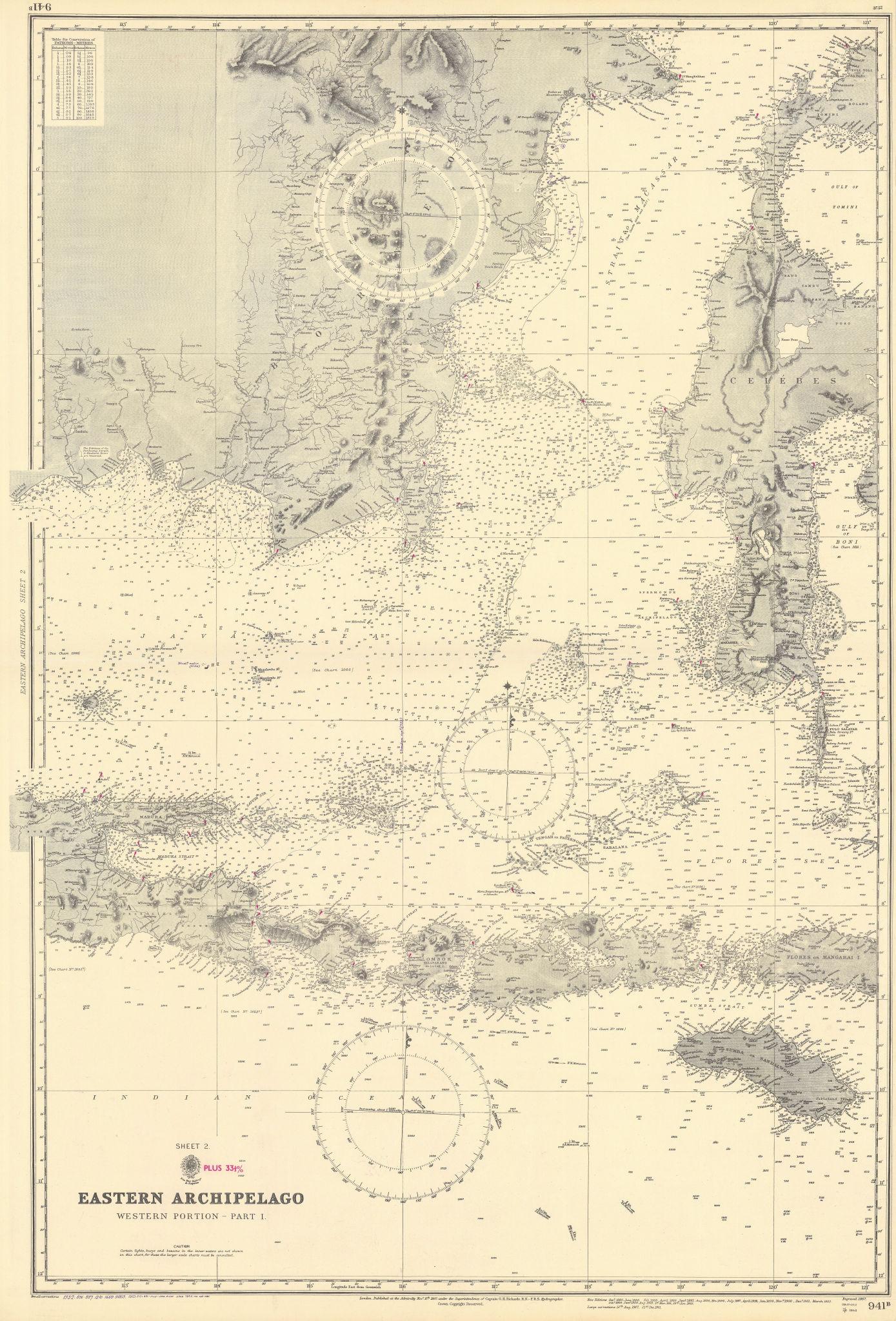 Indonesia Java Sunda islands Sulawesi Borneo ADMIRALTY chart 1867 (1954) map