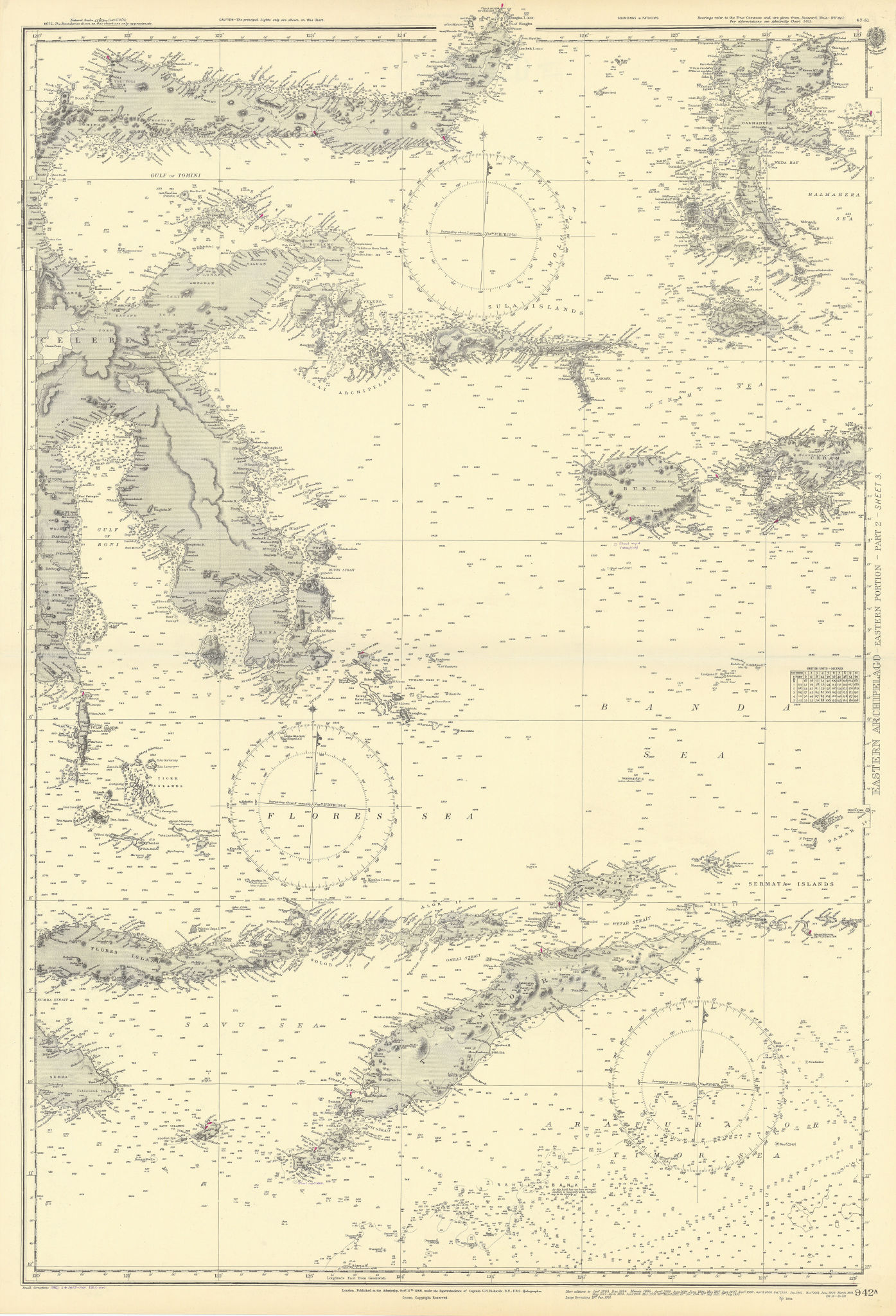 Eastern Indonesia. Timor Sulawesi Moluccas. ADMIRALTY sea chart 1868 (1954) map