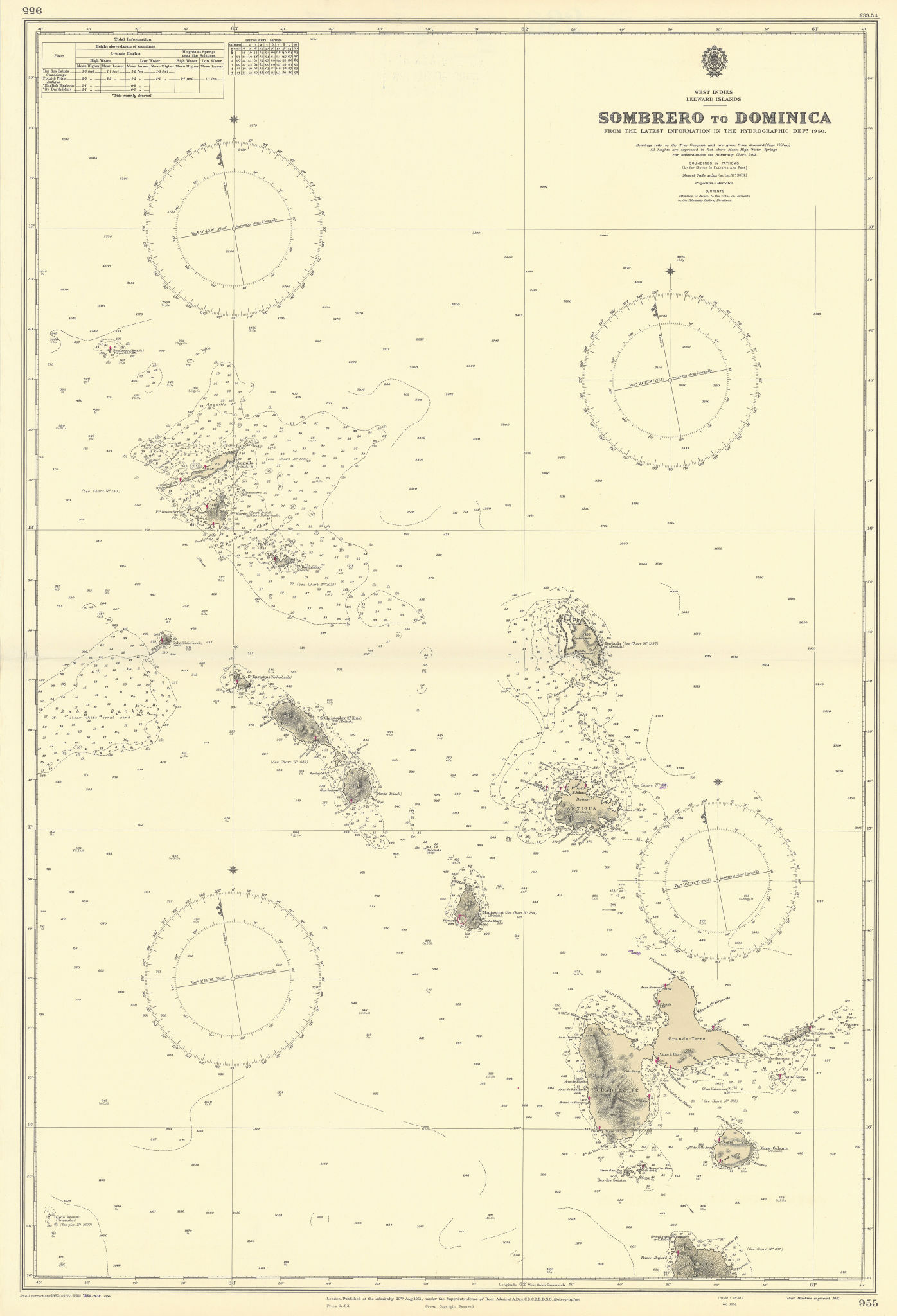 Leeward Islands Antigua Guadeloupe St Kitts Barts ADMIRALTY chart 1954 old map