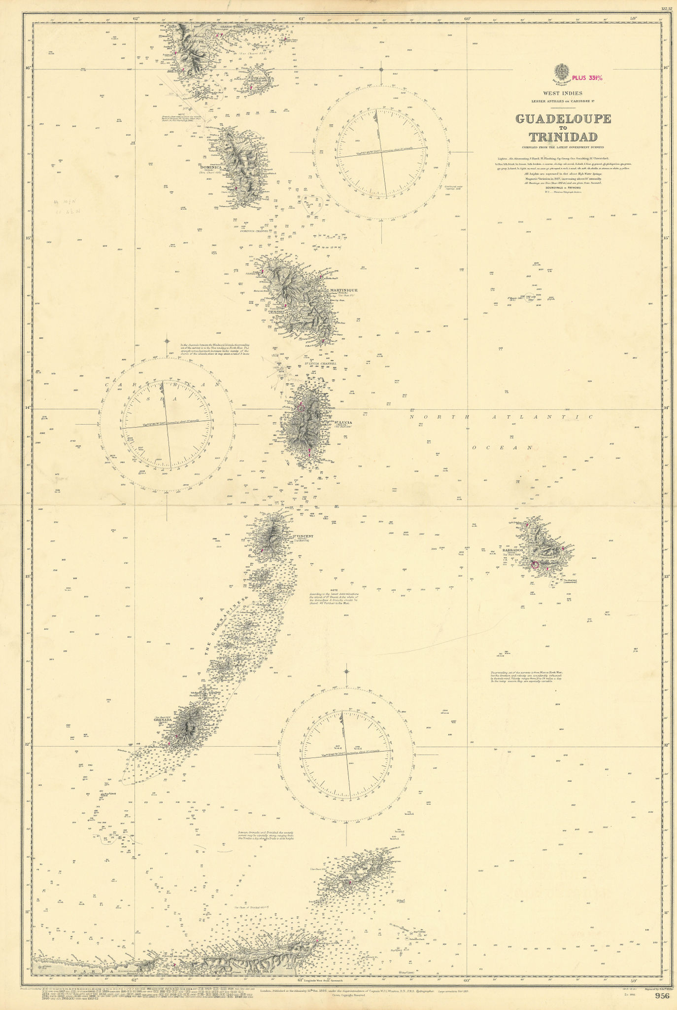 Windward Islands Barbados St Lucia Vincent ADMIRALTY chart 1886 (1952) old map