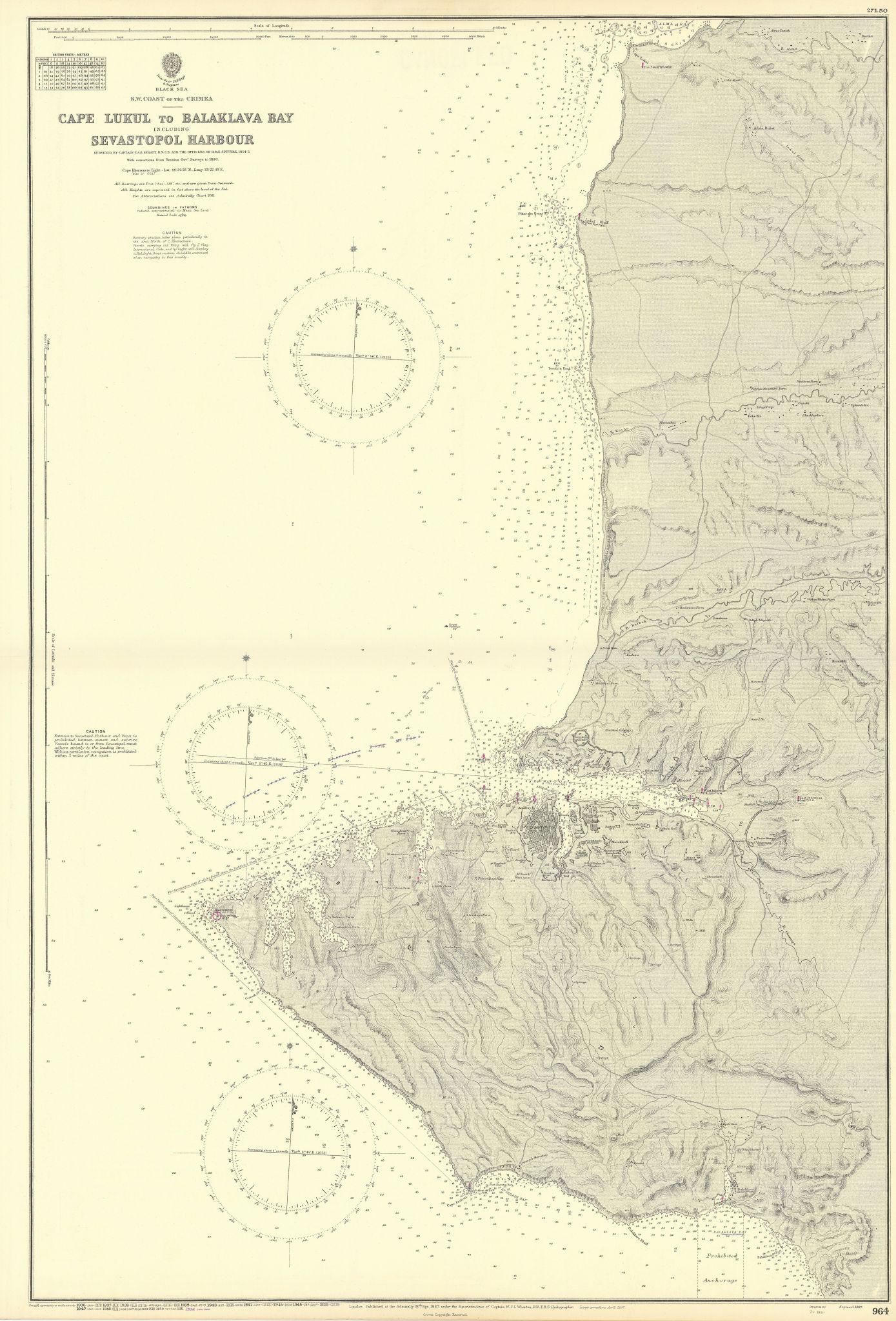 Crimea SW coast Balaklava Bay Sevastopol Harbour ADMIRALTY chart 1887 (1954) map
