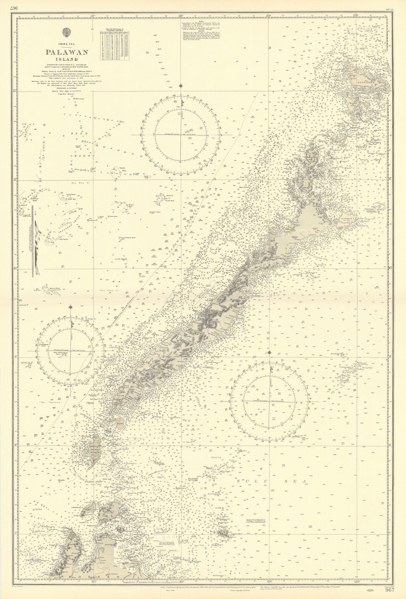 Palawan Island. Philippines. China Sea. ADMIRALTY sea chart 1856 (1954) map