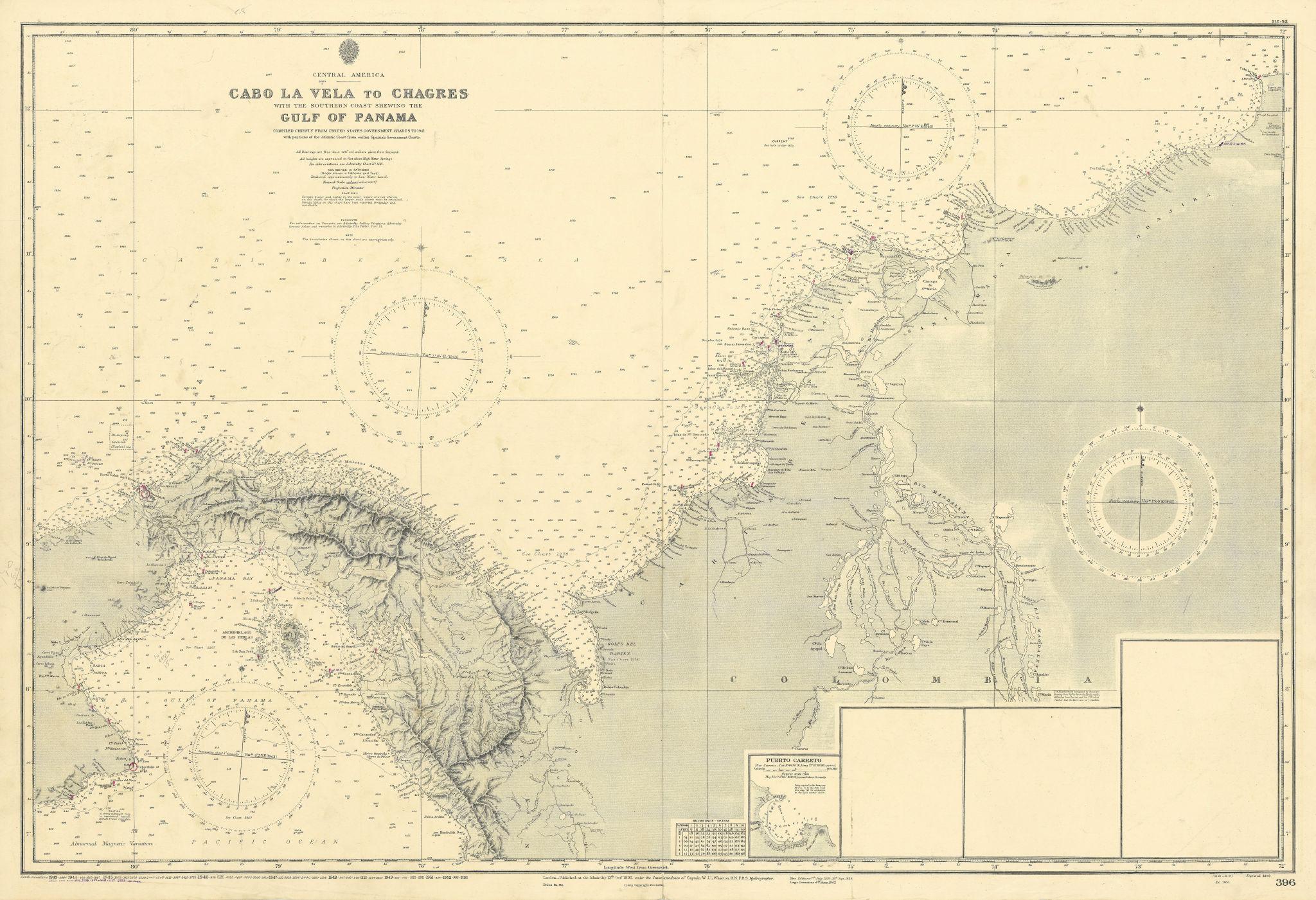 Panama Colombia coast. Cabo la Vela-Chagres. ADMIRALTY sea chart 1892 (1955) map