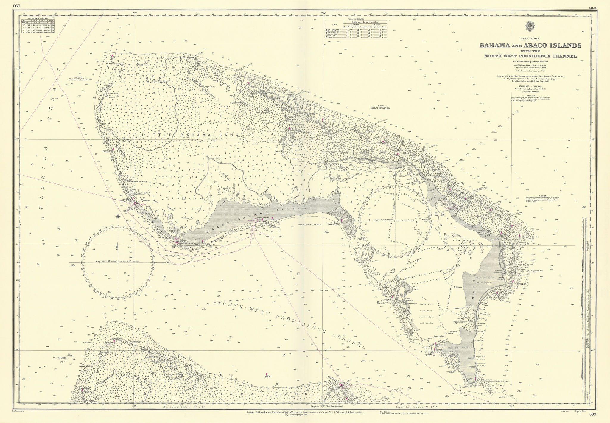 Grand Bahama & Great Abaco Islands. Bahamas. ADMIRALTY sea chart 1886 (1968) map