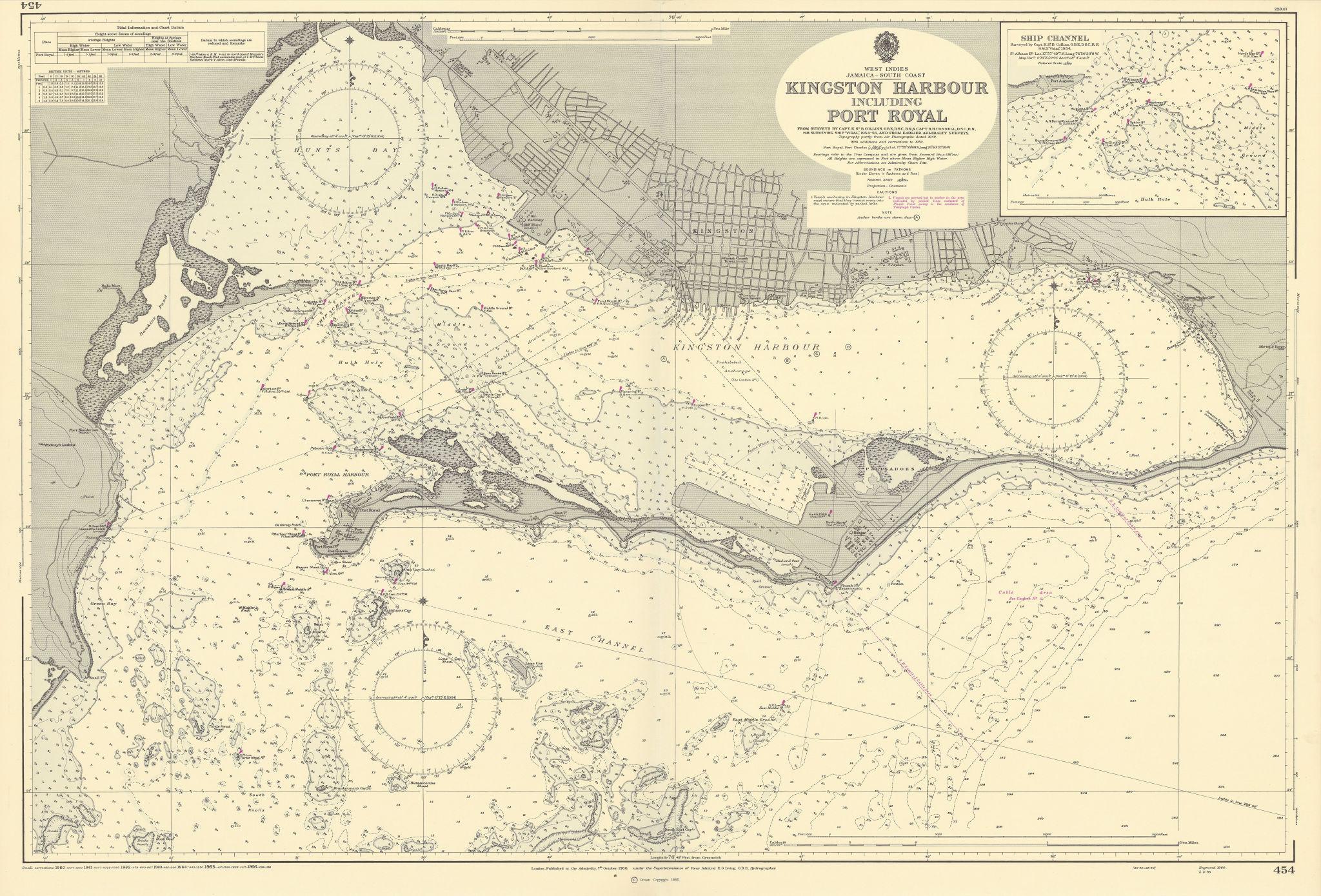 Kingston Harbour Port Royal Jamaica Caribbean ADMIRALTY chart 1960 (1966) map