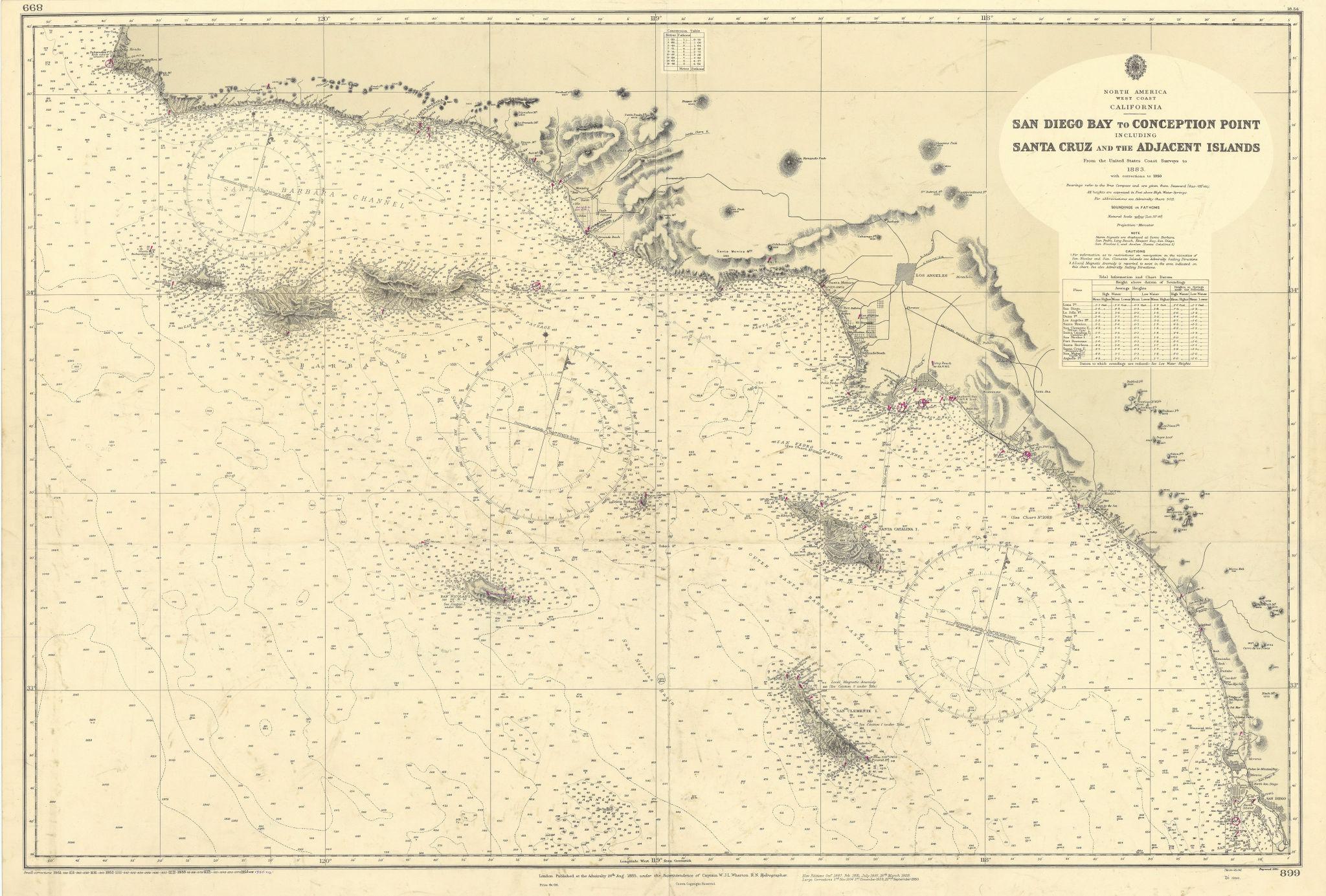Southern California Bight islands San Diego LA ADMIRALTY chart 1885 (1955) map