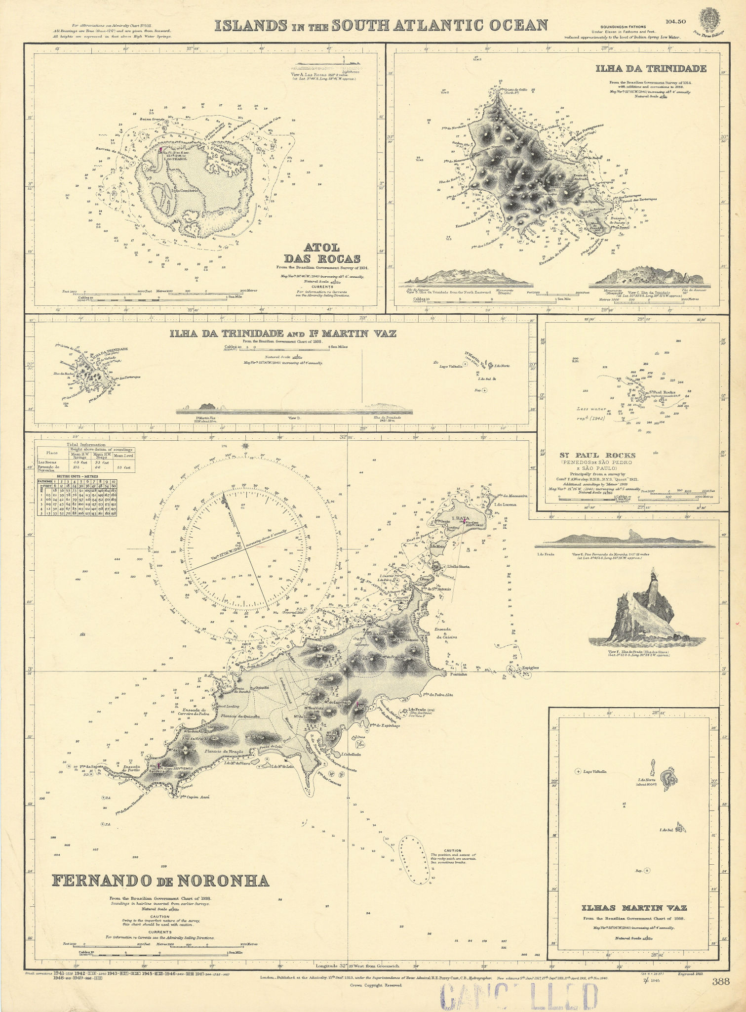 Brazil South Atlantic Islands Fernando Noronha ADMIRALTY chart 1913 (1949) map