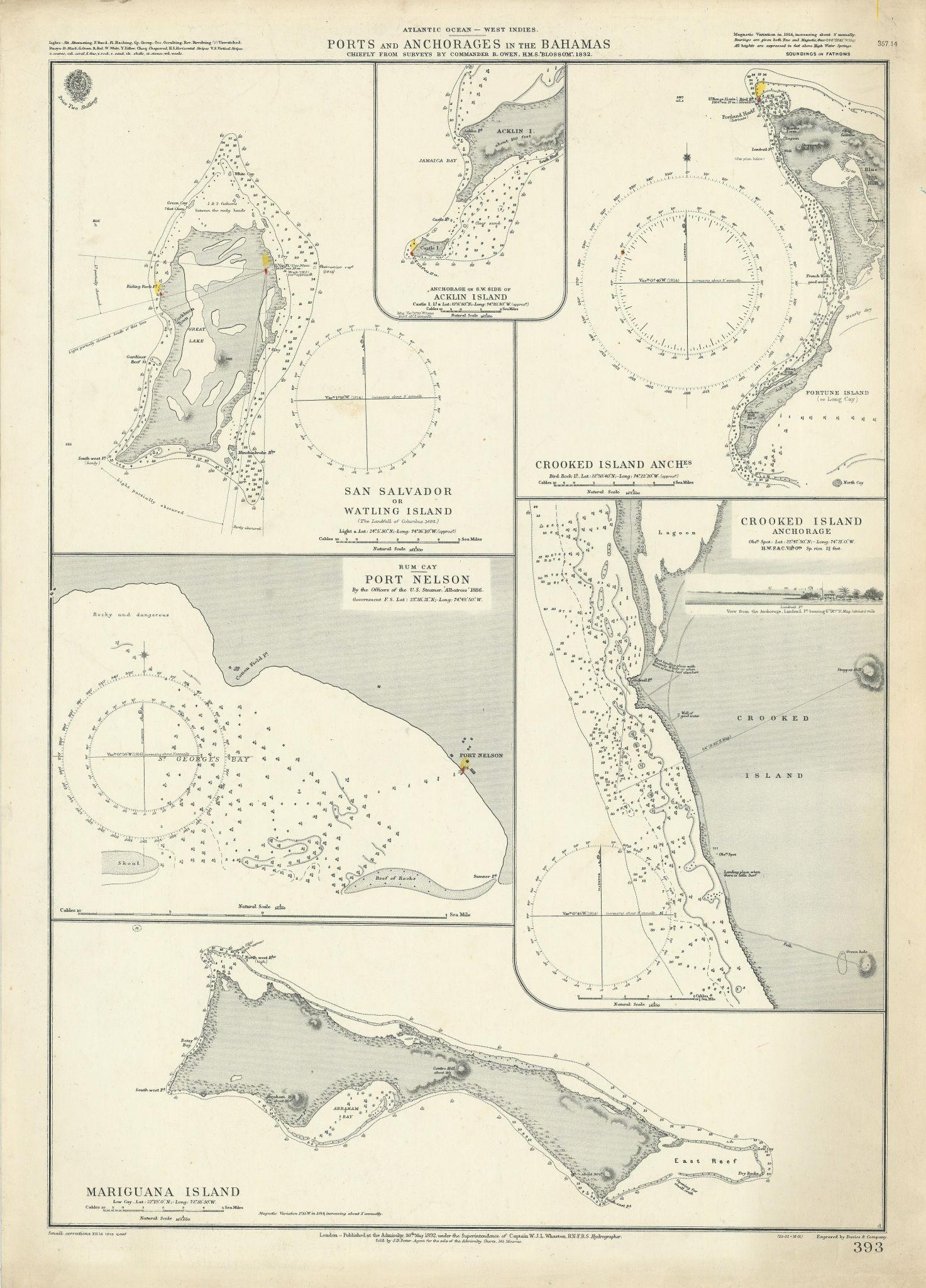 Bahamas. San Salvador Crooked Rum Cay Mariguana ADMIRALTY chart 1892 (1919) map