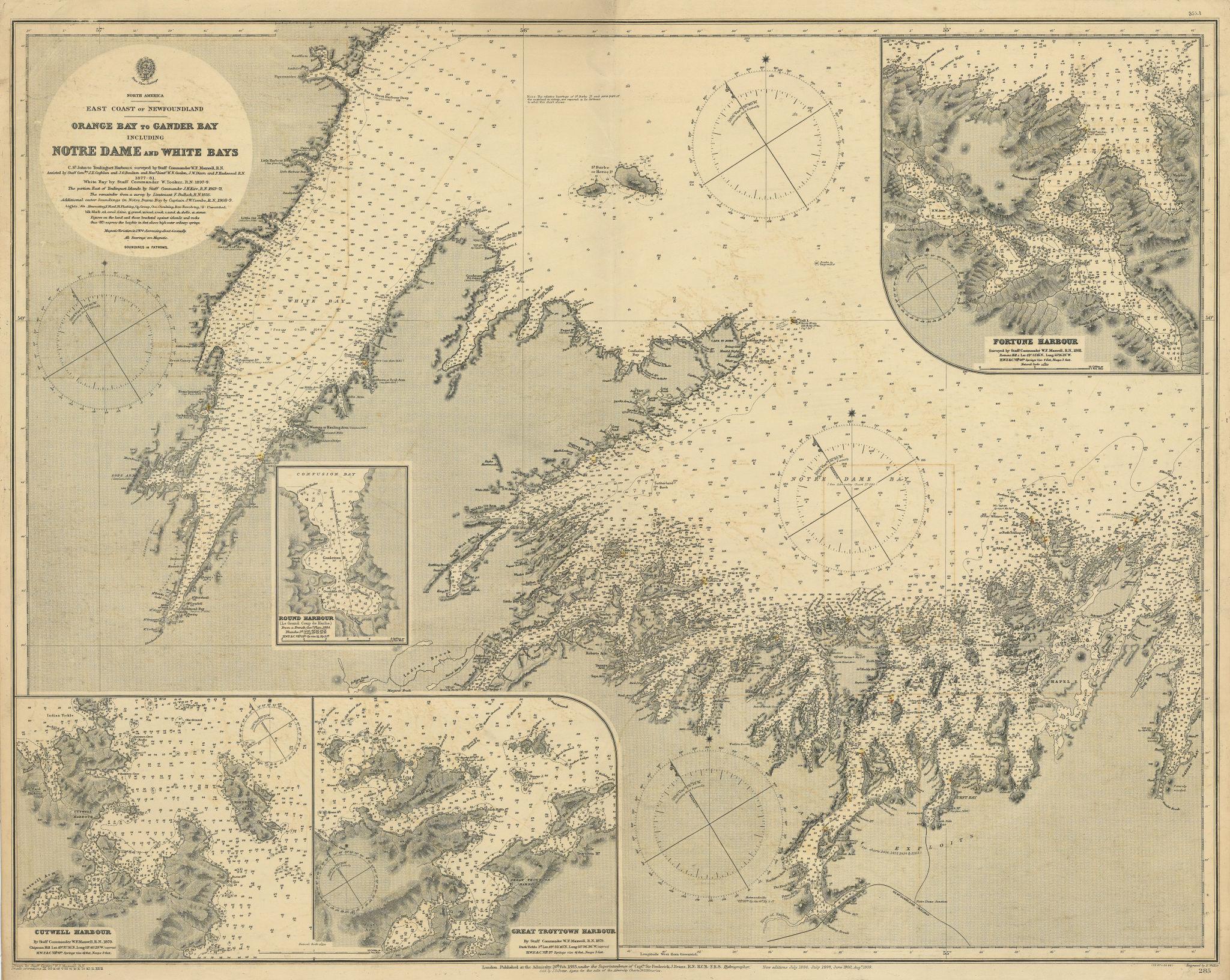 Newfoundland coast. Orange Bay-Gander Bay. ADMIRALTY sea chart 1883 (1911) map