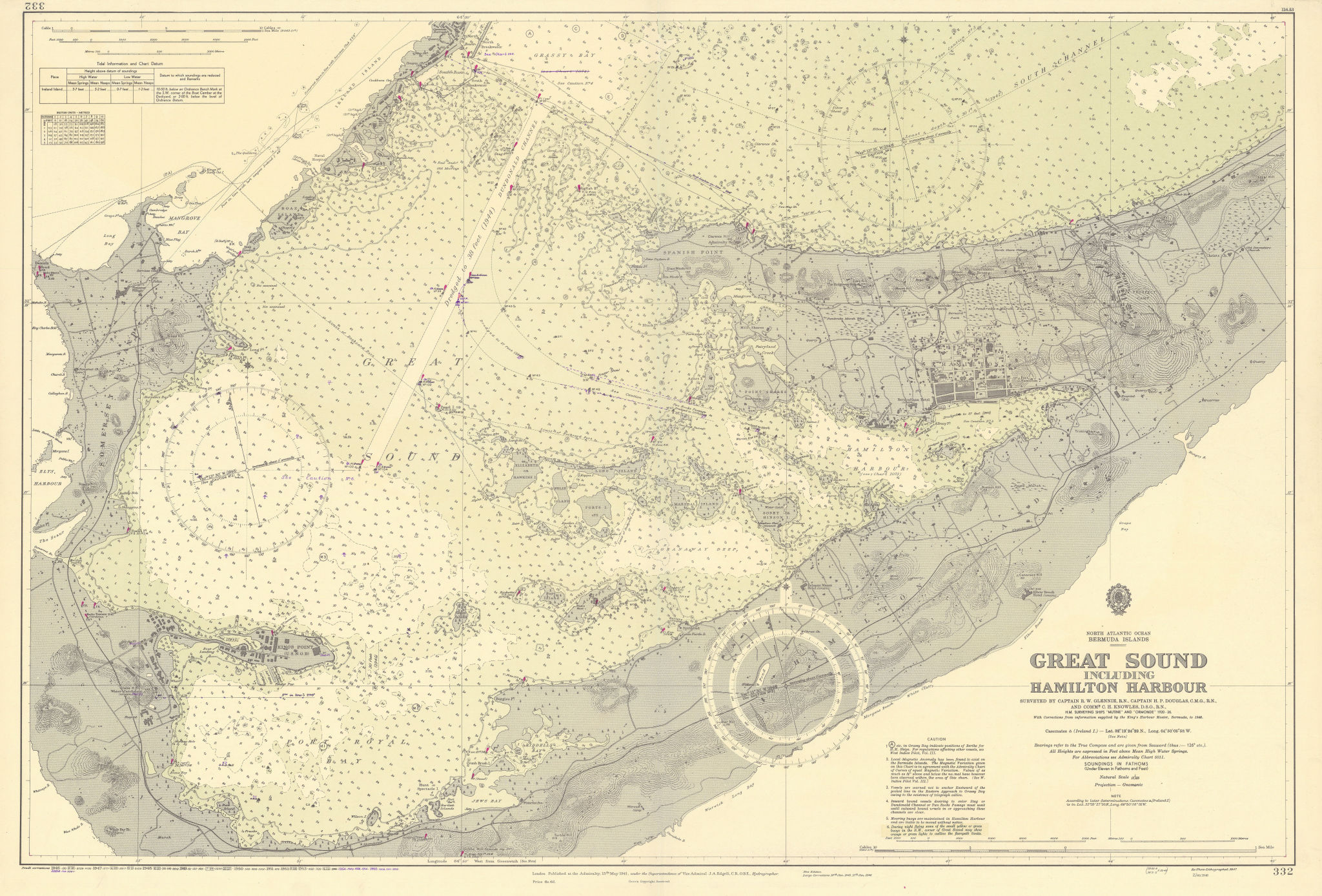 Bermuda Great Sound. Hamilton Harbour ADMIRALTY sea chart 1941 (1956) old map
