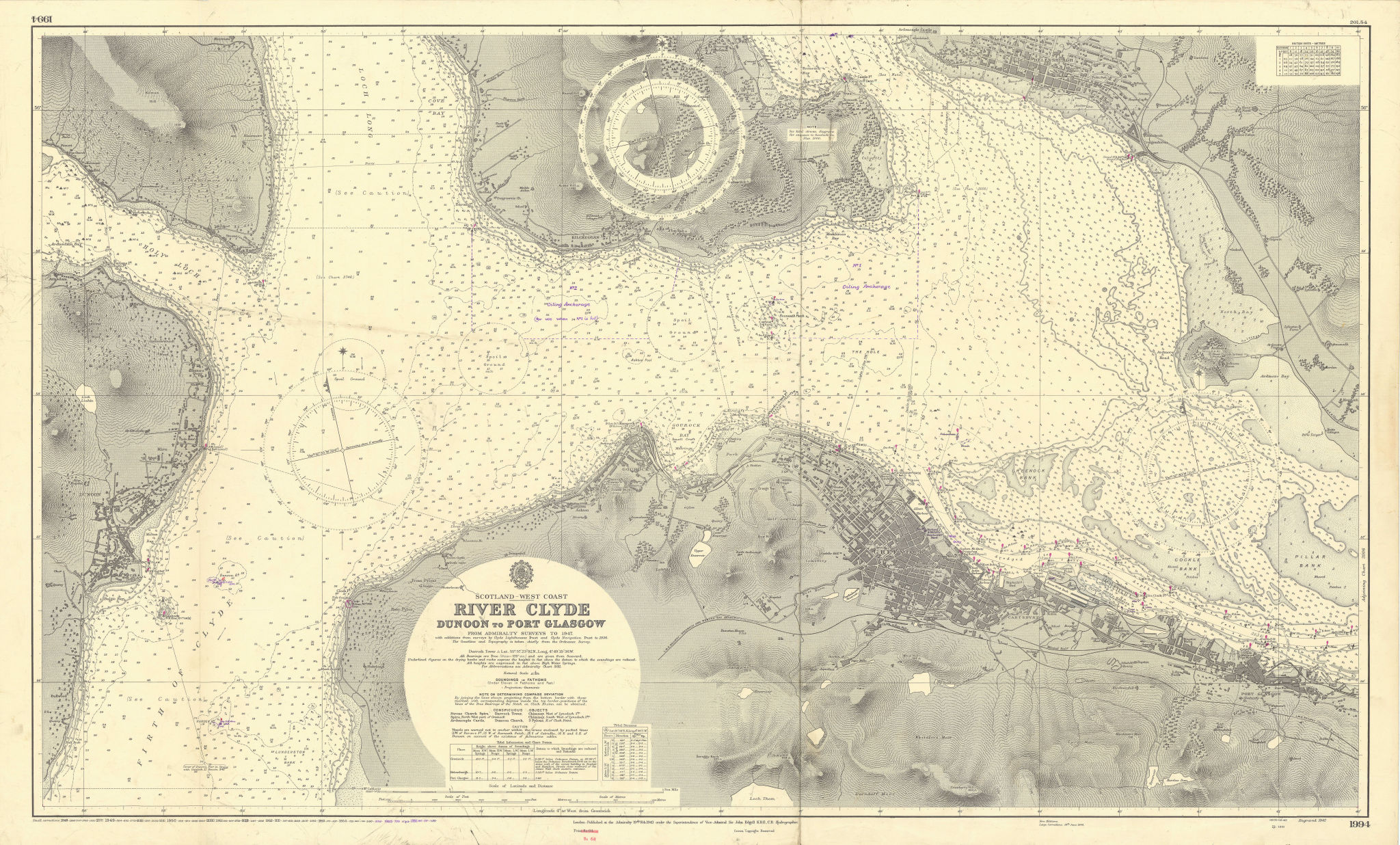 River Clyde. Greenock. Dunoon-Port Glasgow. ADMIRALTY sea chart 1943 (1956) map
