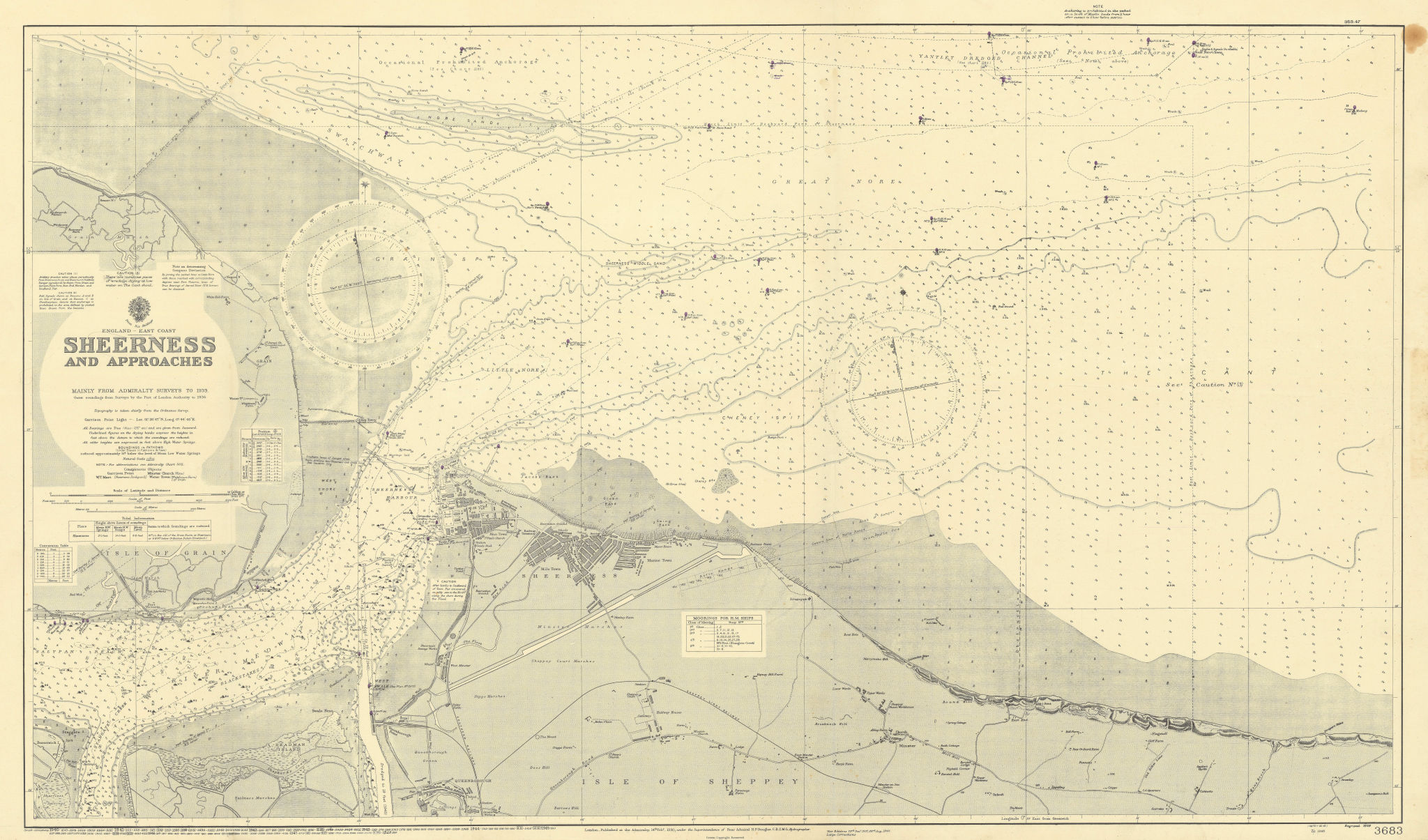 Sheerness & approaches. Medway Kent. ADMIRALTY sea chart 1930 (1948) old map