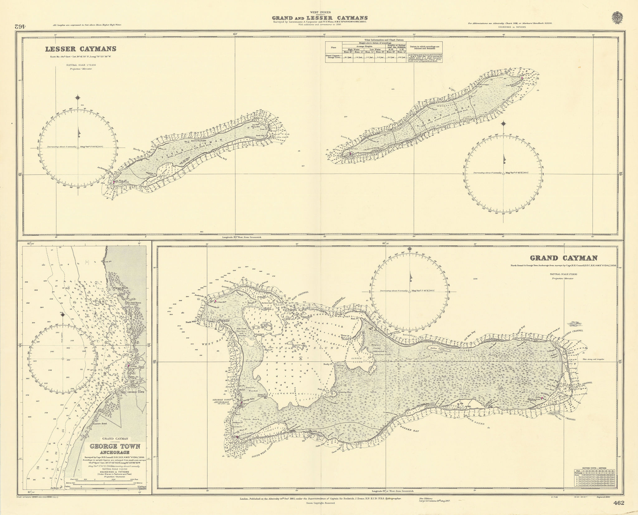 Cayman Islands Lesser Grand Caymans George Town ADMIRALTY chart 1882 (1966) map