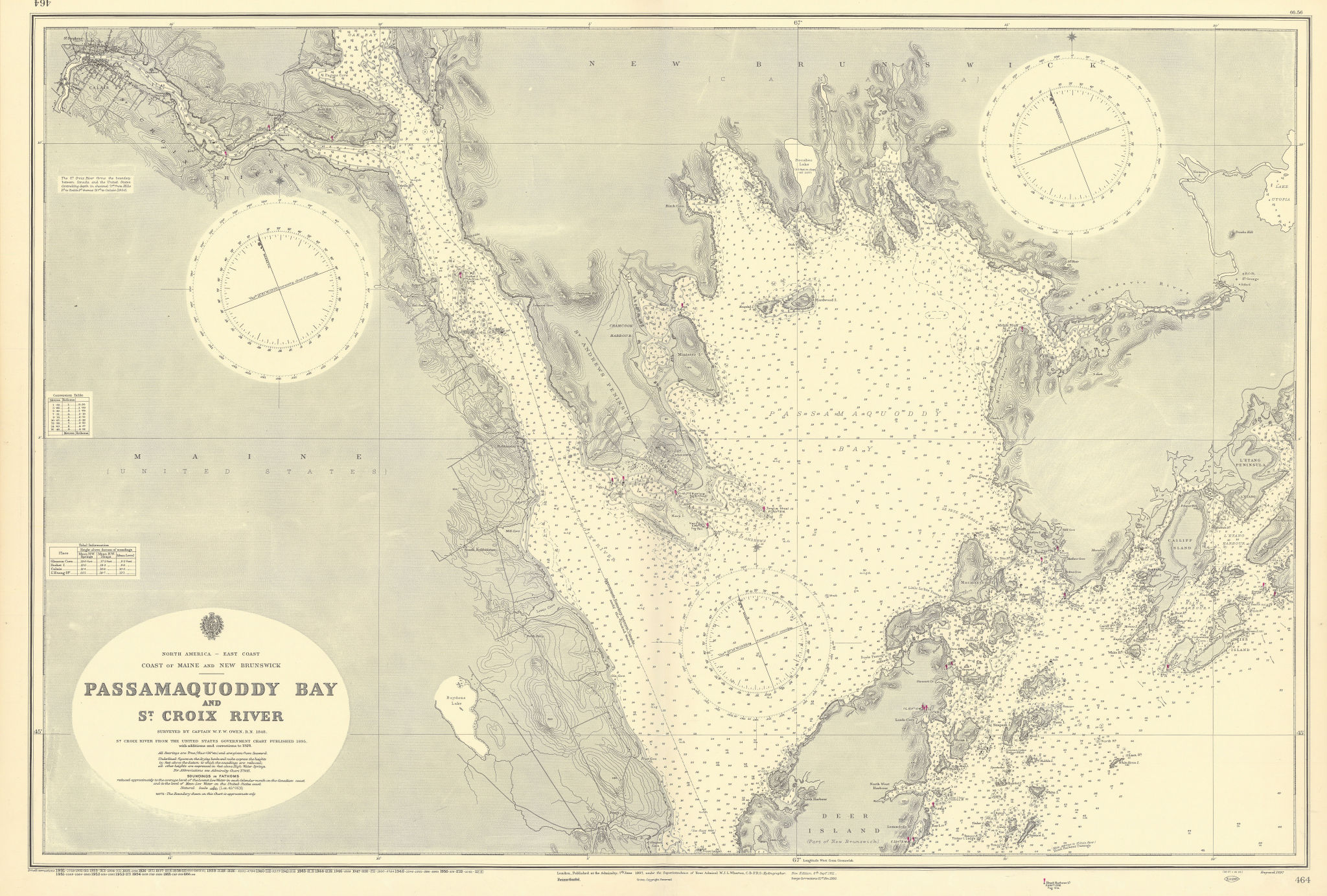 Maine New Brunswick Passamaquoddy Bay St Croix ADMIRALTY chart 1897 (1956) map