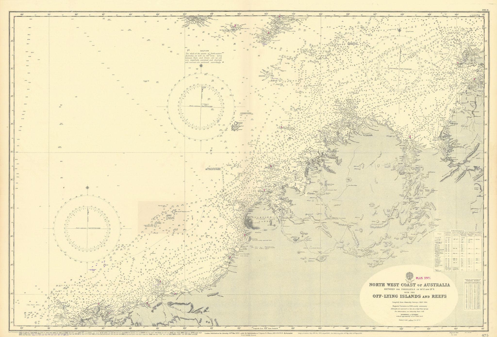 NW Australia coast Kimberley Darwin Pilbara ADMIRALTY chart 1880 (1954) map