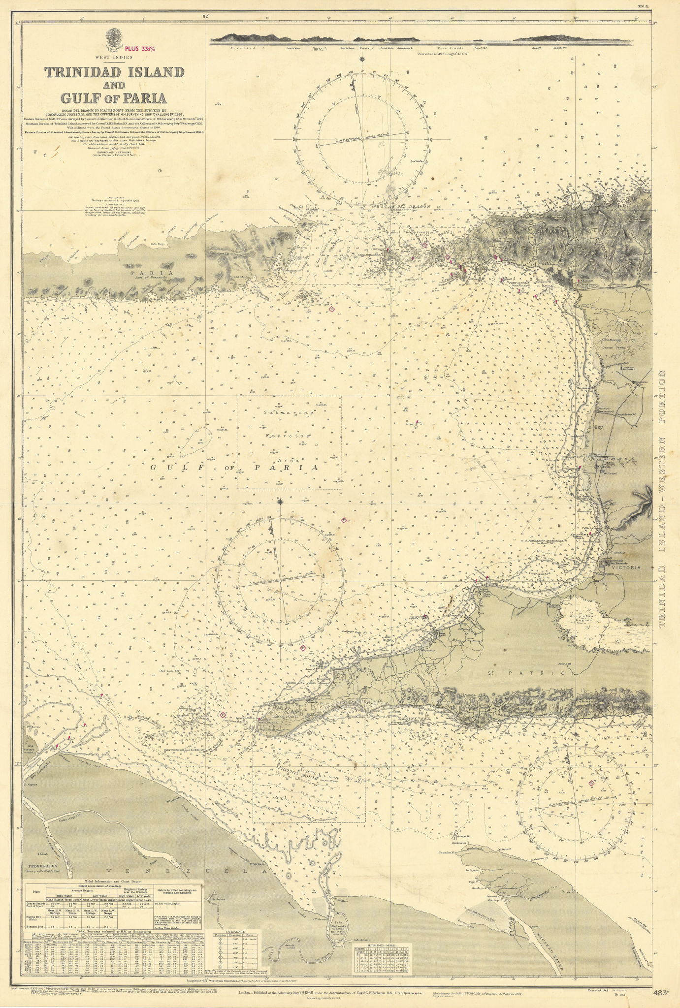Trinidad west part Gulf of Paria West Indies ADMIRALTY sea chart 1869 (1951) map