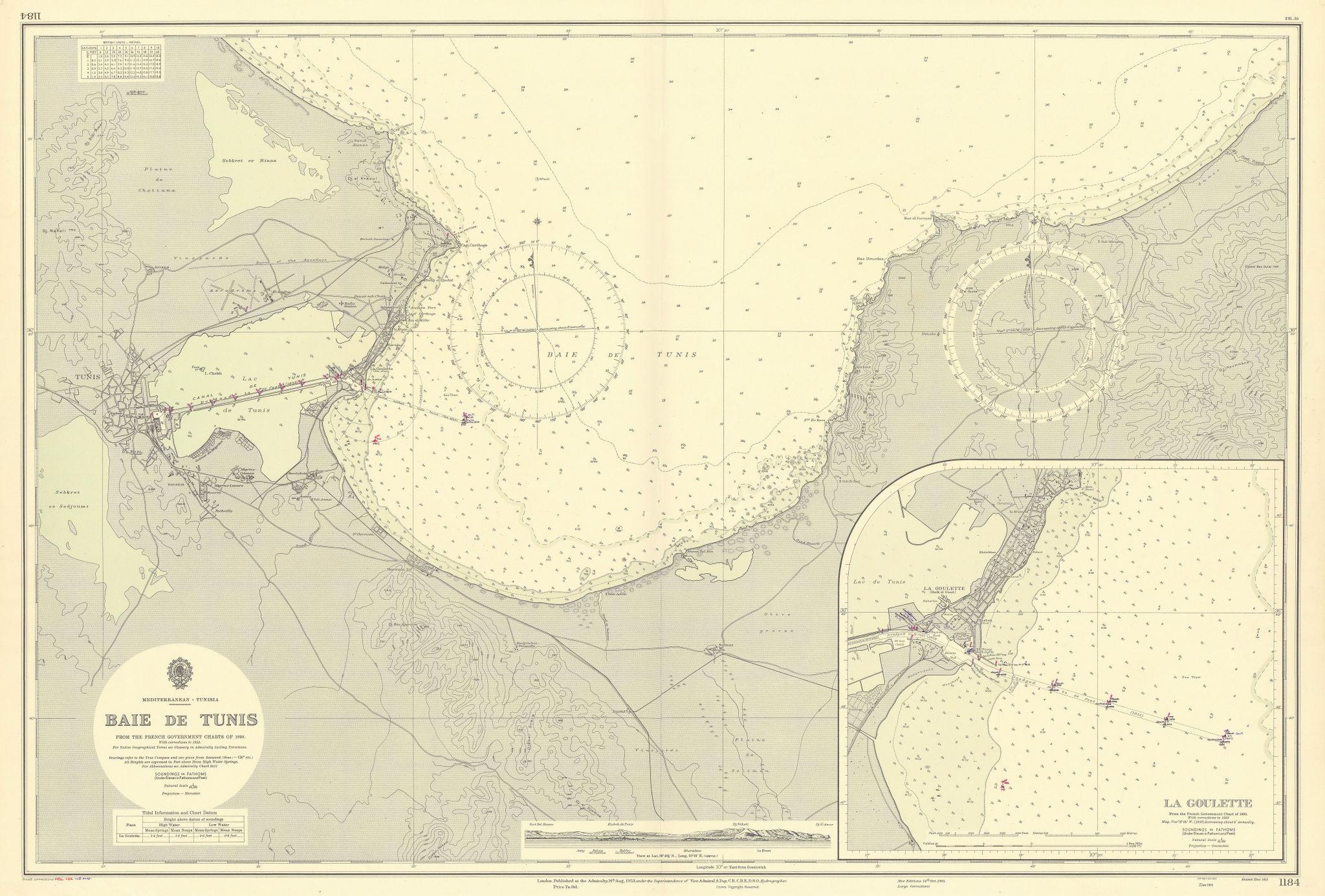 Baie de Tunis, Tunisia, Mediterranean. ADMIRALTY sea chart 1953 (1956) old map