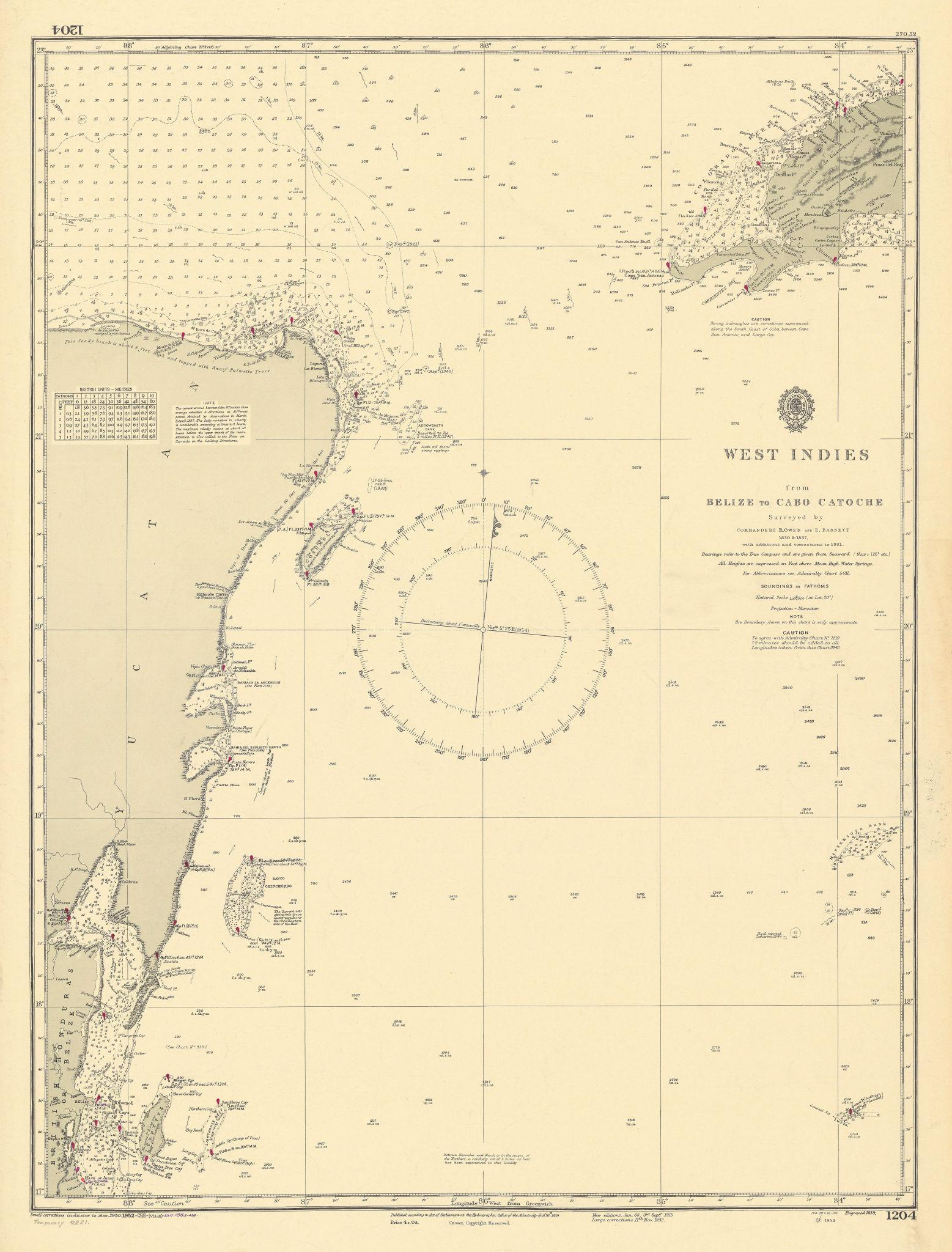 Belize Yucatan Western Cuba coast. Cozumel. ADMIRALTY sea chart 1839 (1954) map
