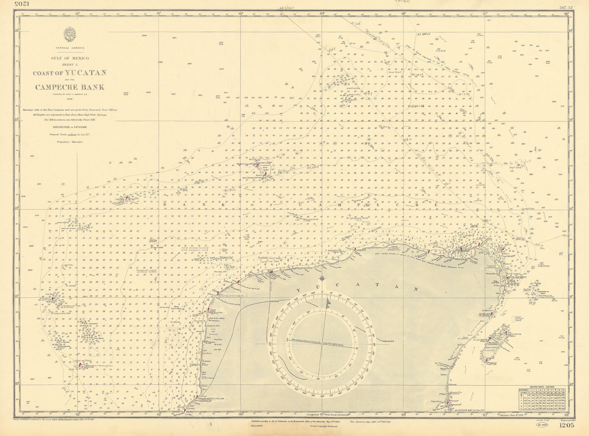 North Yucatan coast Campeche Bank Cozumel Cancun ADMIRALTY chart 1848 (1952) map