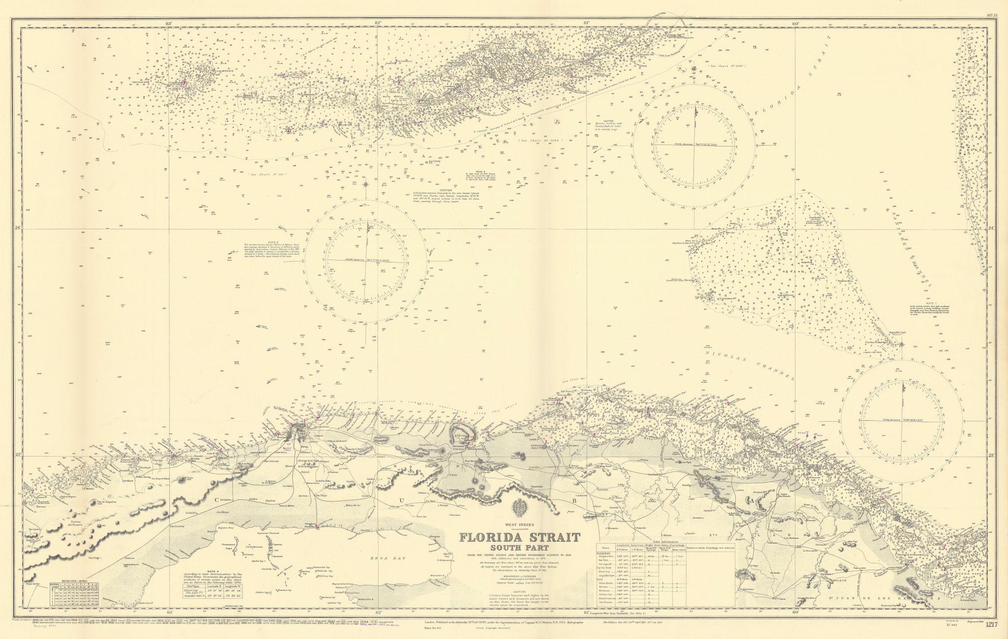 Florida Strait & Keys. Northern Cuba. ADMIRALTY sea chart 1890 (1955) old map
