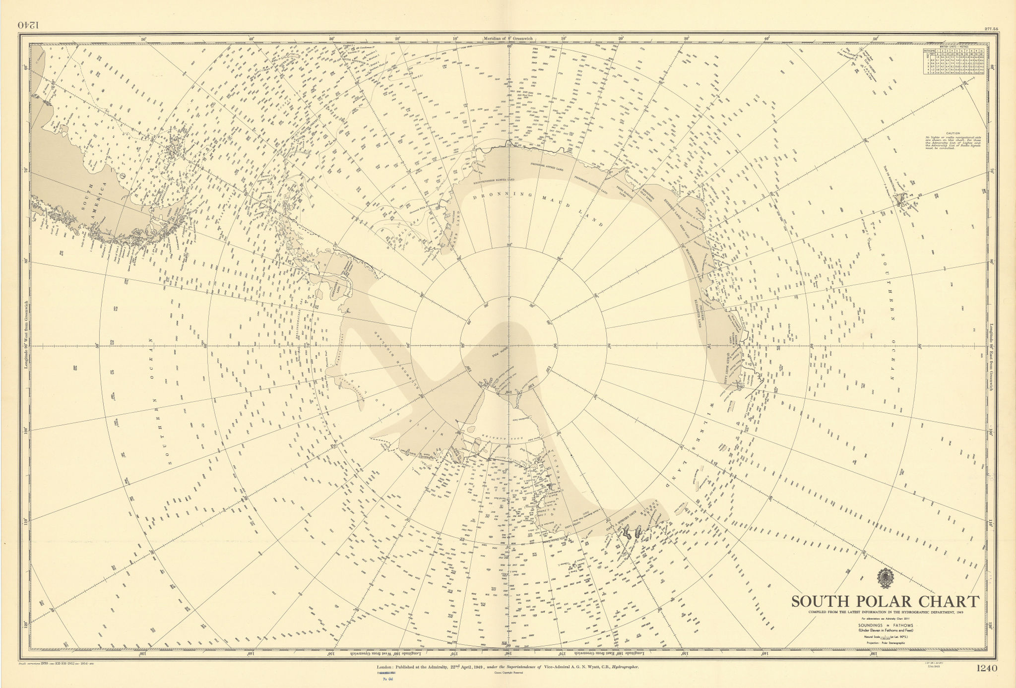 South Polar Chart. Antarctica. ADMIRALTY sea chart 1949 (1954) old vintage map