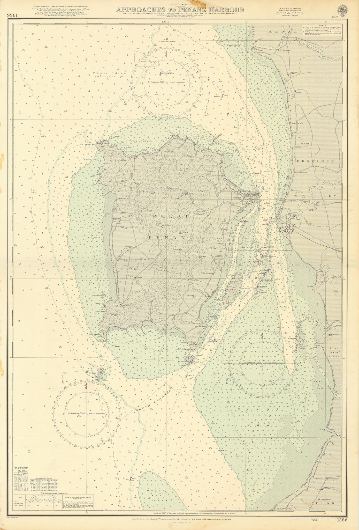 Penang Island & harbour approaches. Malaysia. ADMIRALTY sea chart 1957 old map