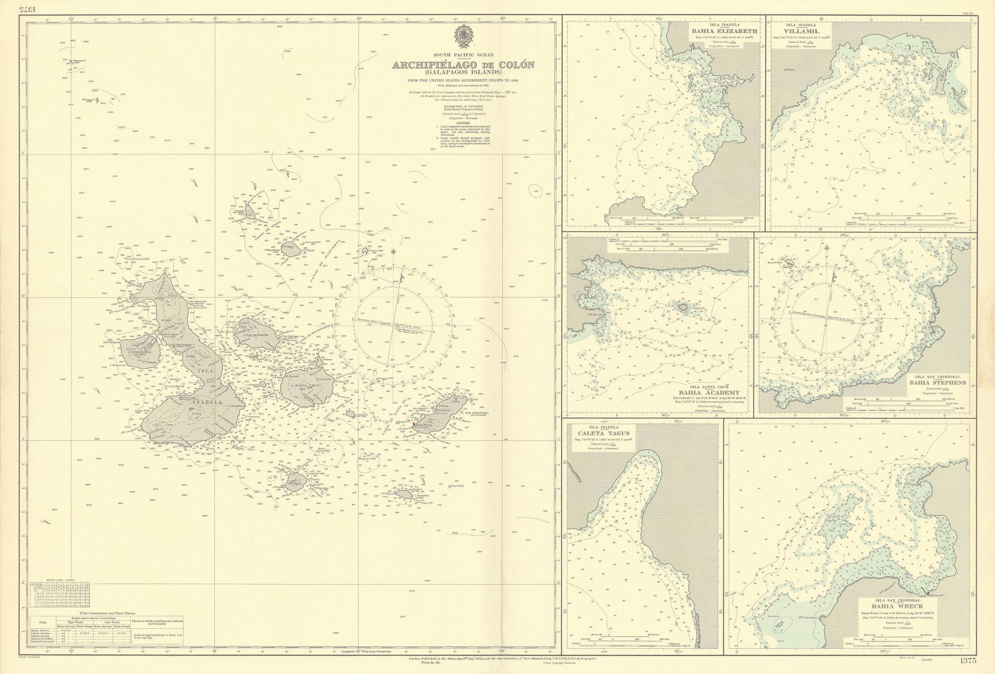 Archipiélago de Colón Galapagos Islands Anchorages. ADMIRALTY sea chart 1953 map