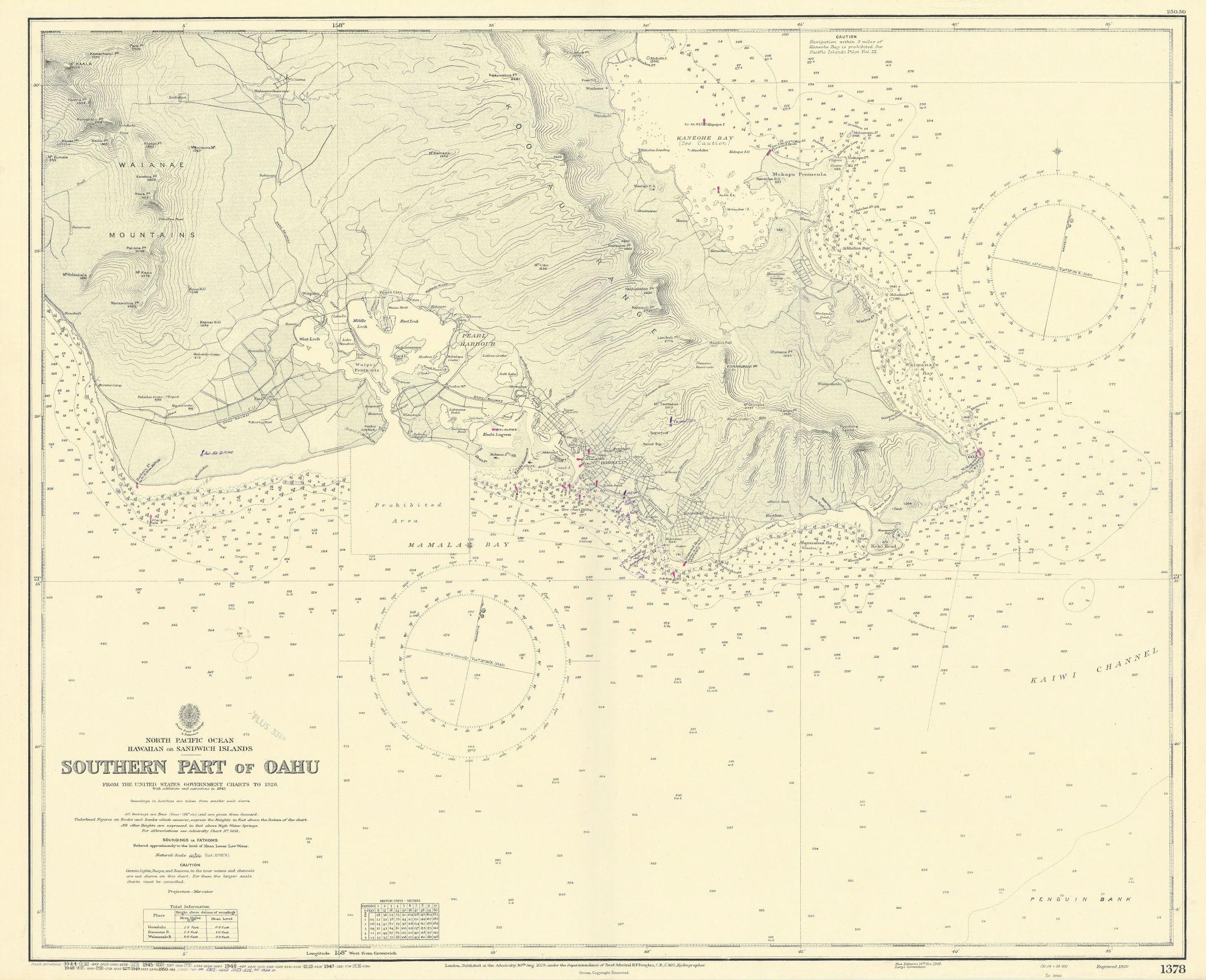 Southern Oahu. Hawaii. Pearl Harbor. ADMIRALTY sea chart 1929 (1954) old map