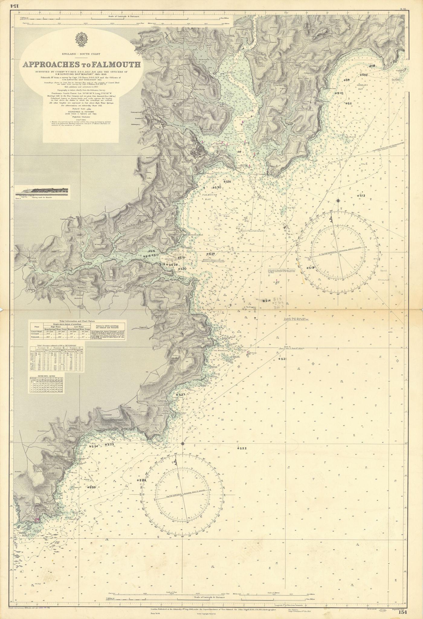 Falmouth approach Lizard Carrick Roads Cornwall ADMIRALTY chart 1943 (1955) map