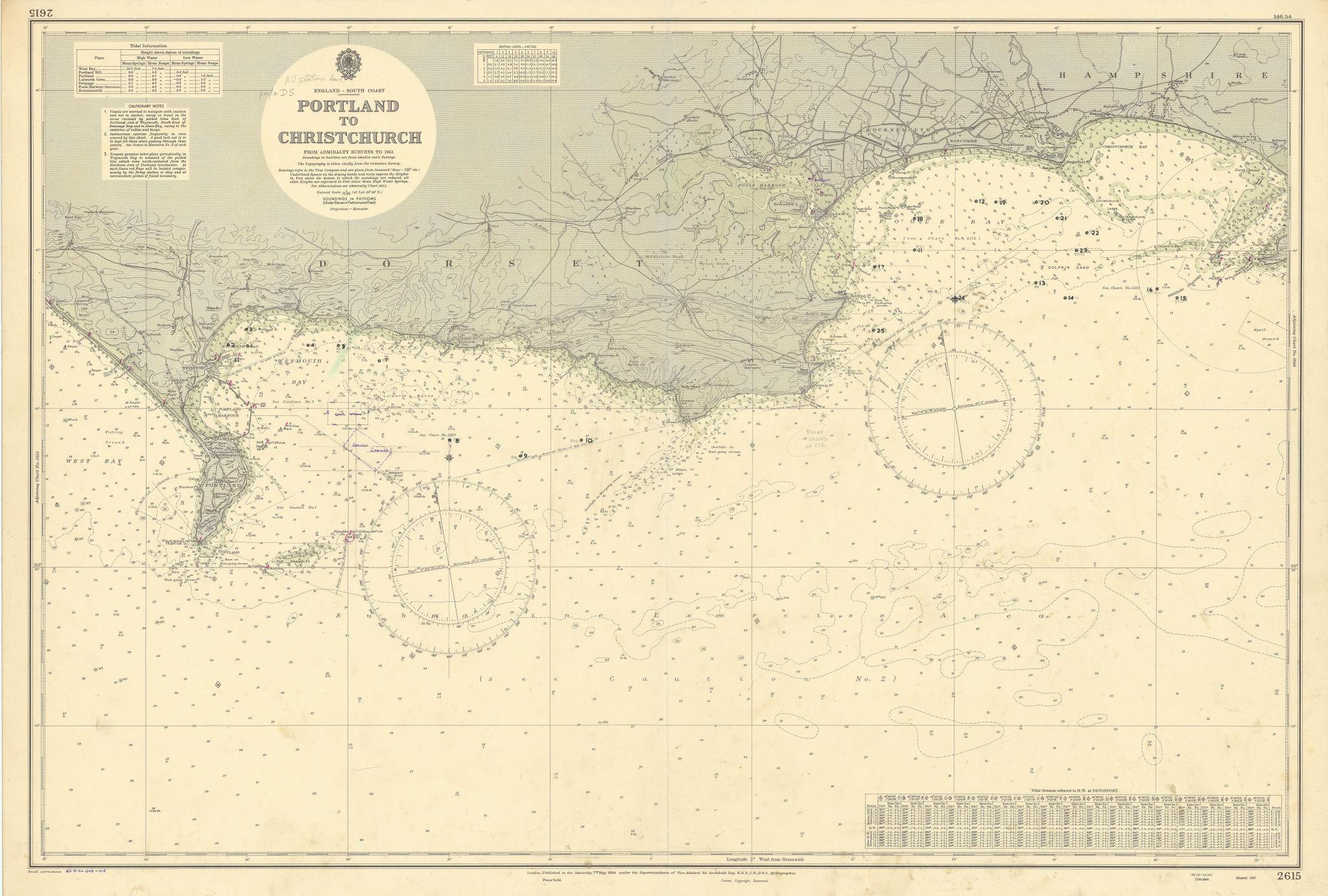 Dorset Hampshire coast Portland-Christchurch ADMIRALTY sea chart 1954 (1955) map