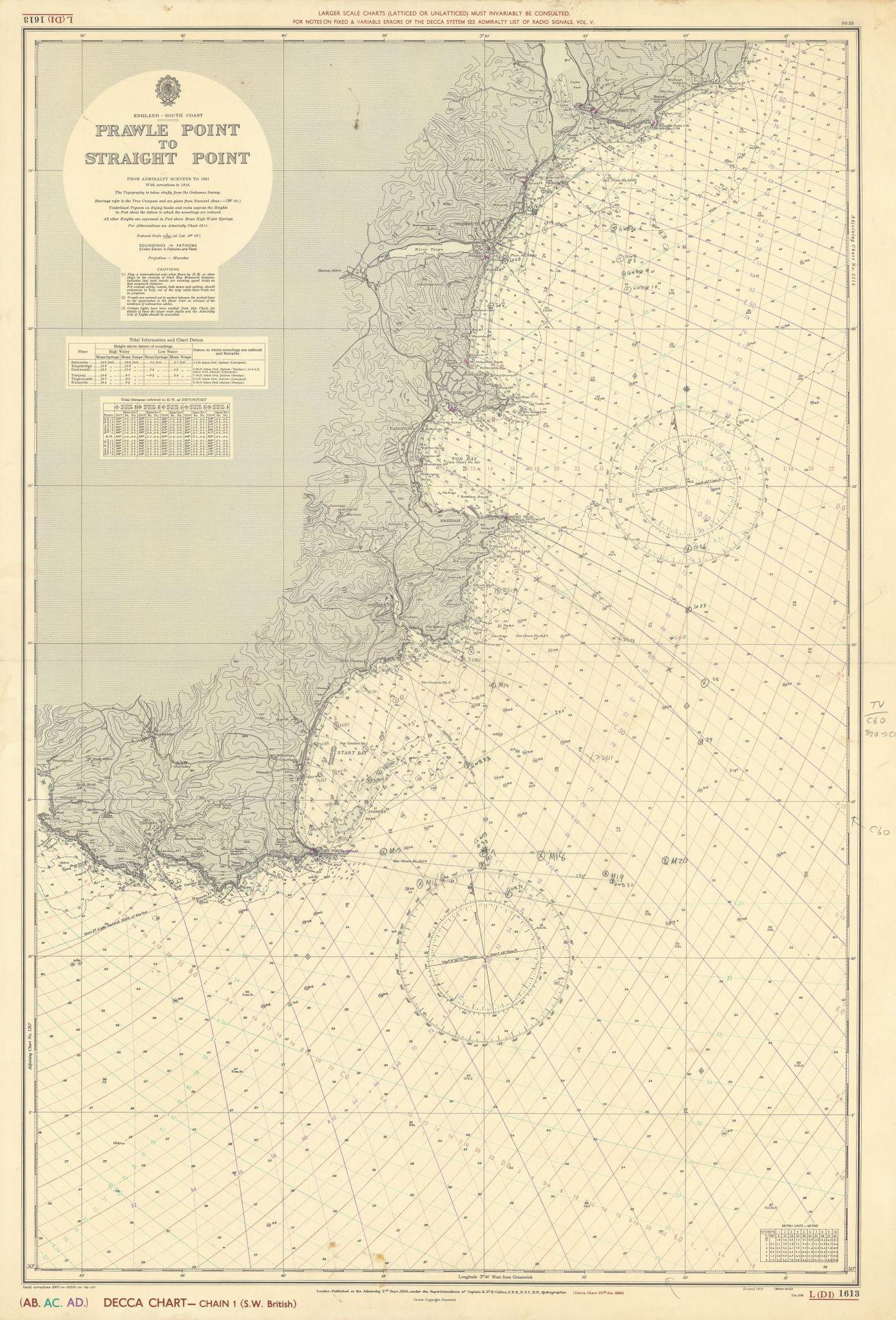 South Devon coast. Prawle Point-Straight Pt. ADMIRALTY sea chart 1955 (1962) map