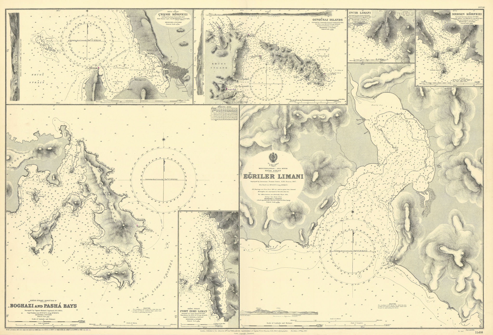 Chios Strait harbours Inousses Turkey Greece ADMIRALTY sea chart 1892 (1951) map
