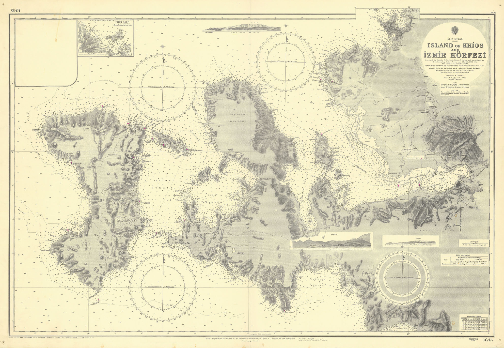 Chios Karaburun Peninsula Turkey Greece Aegean ADMIRALTY chart 1893 (1965) map