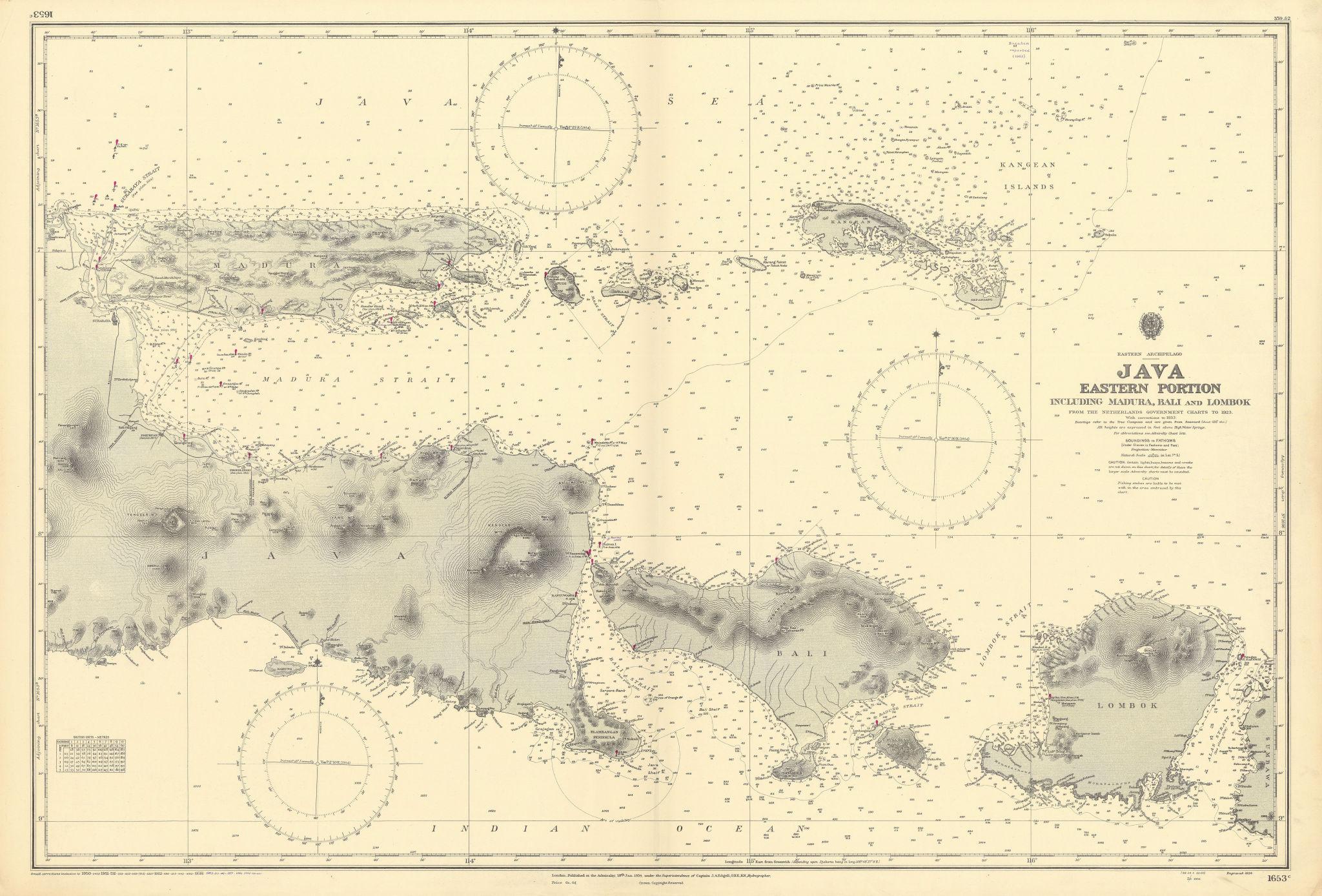 Eastern Java Madura Bali Lombok. Indonesia. ADMIRALTY sea chart 1934 (1954) map