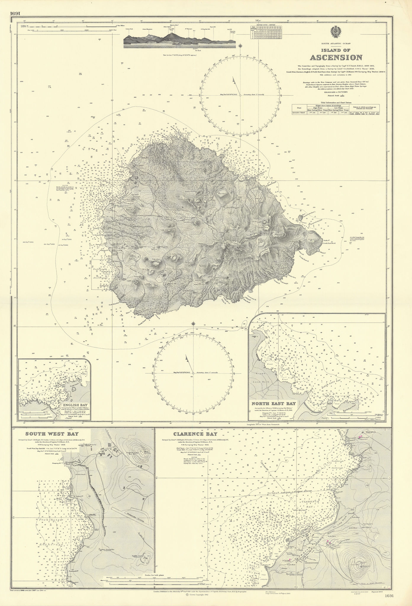 Ascension Island South Atlantic Clarence Bays ADMIRALTY chart 1910 (1967) map